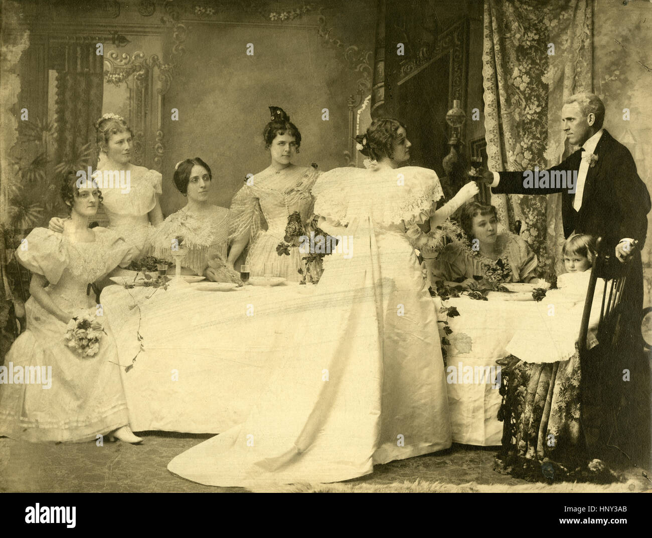 Antique c1890 photograph portrait of a victorian wedding party with antique c1890 photograph portrait of a victorian wedding party with bride groom bridesmaids and flower girl location new england usa junglespirit Image collections