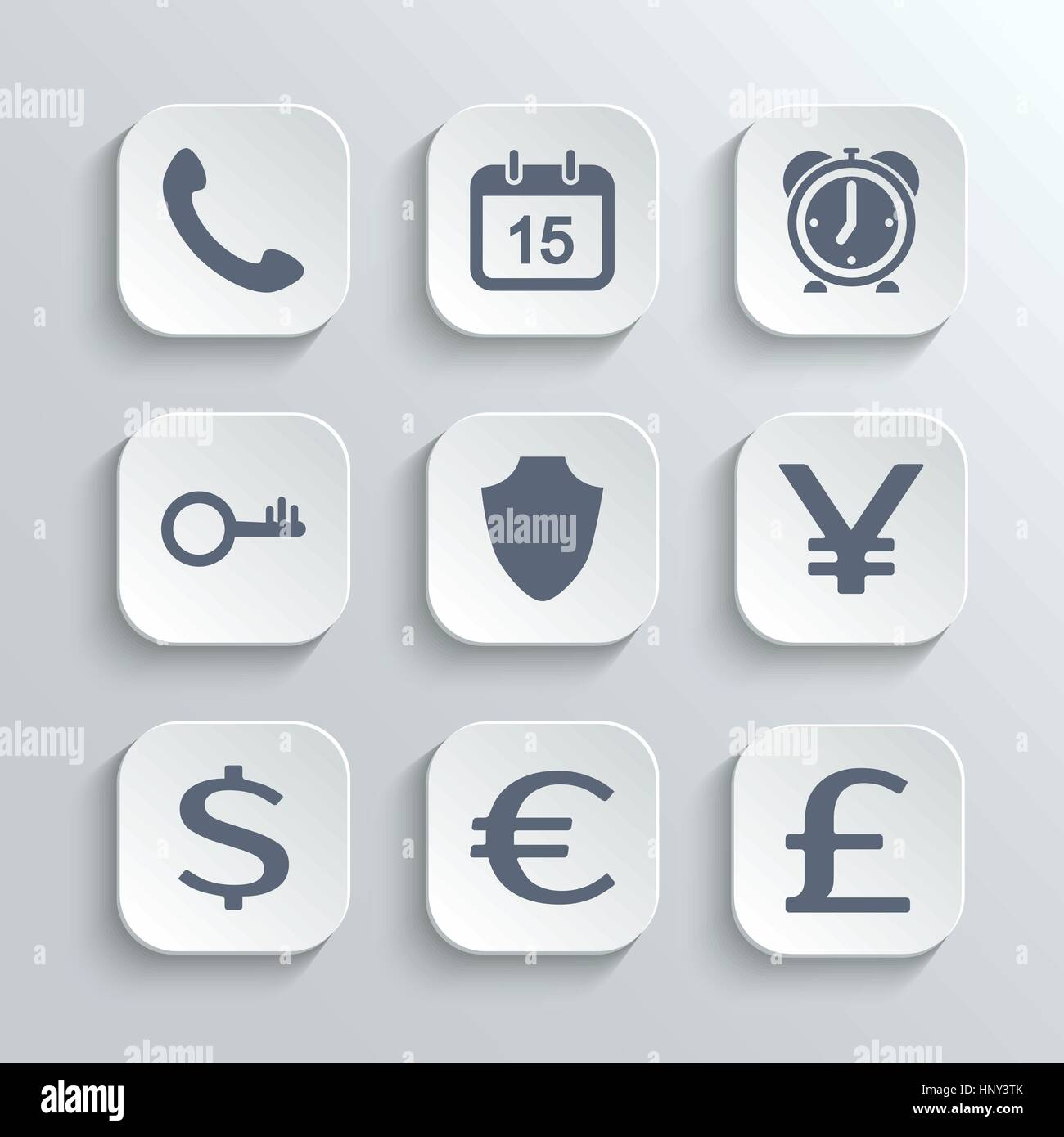Finance icons set - vector white app buttons with phone calendar