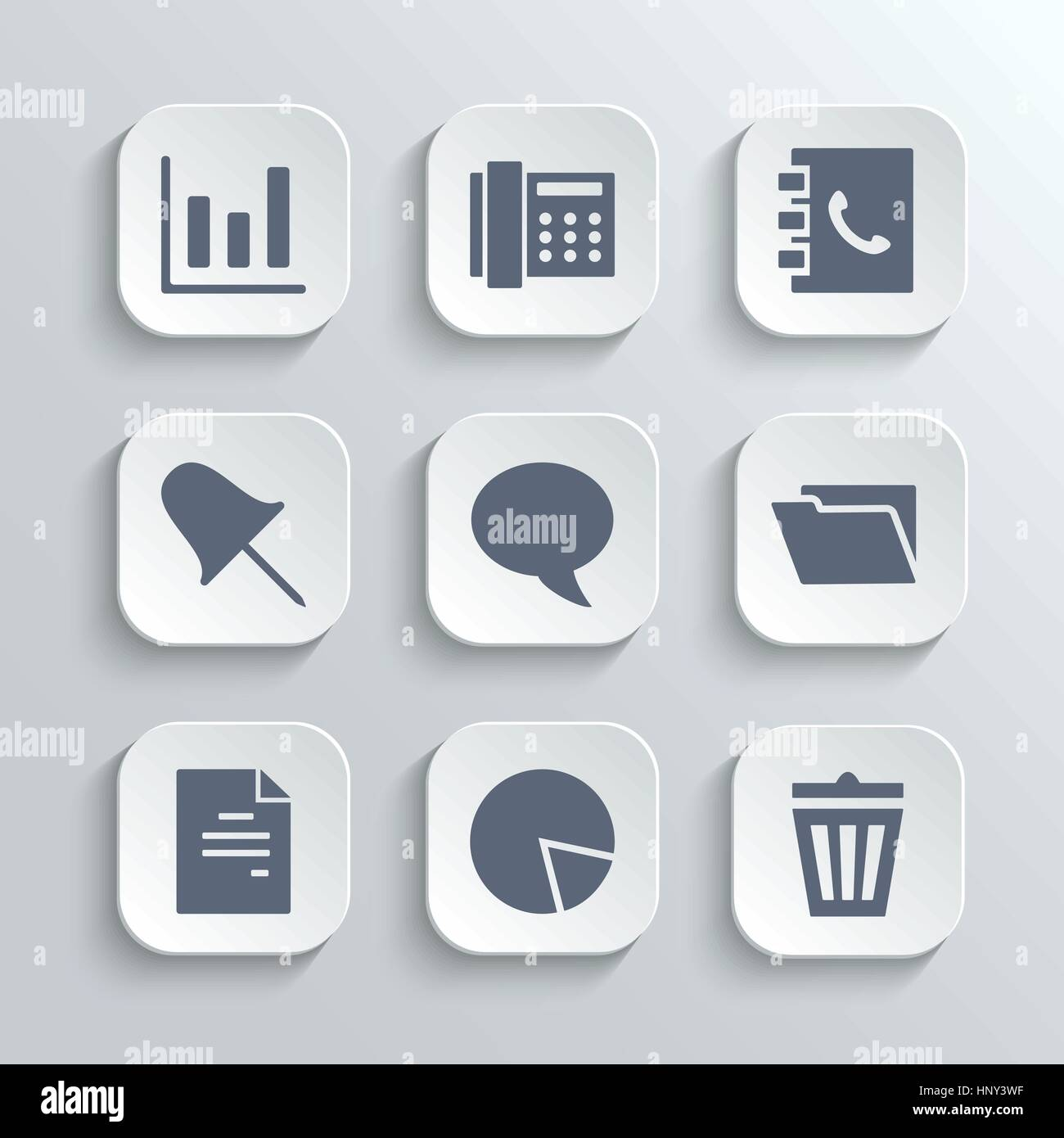 Web icons set - vector white app buttons with diagram fax