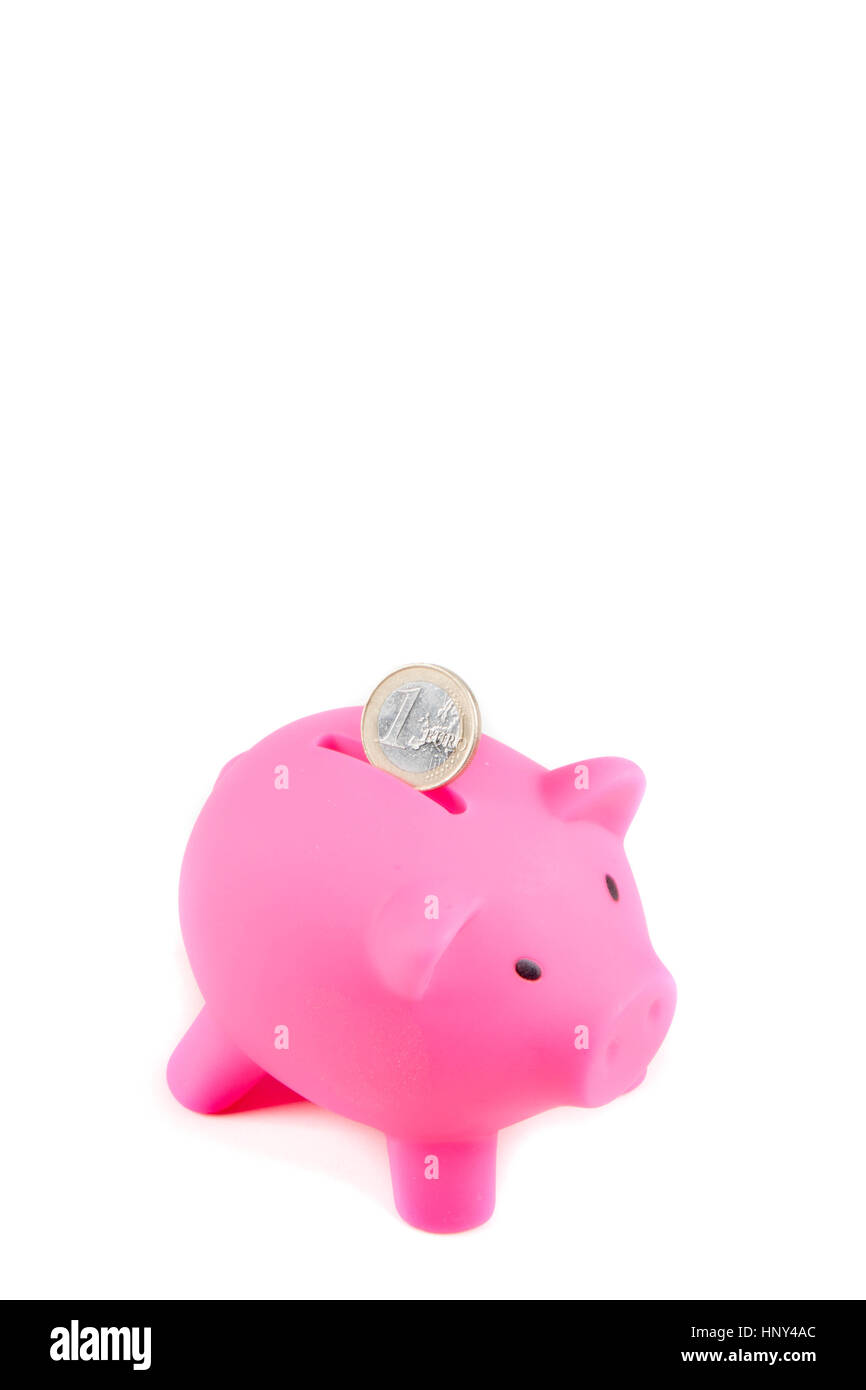 Piggybank isolated on white background - Stock Image
