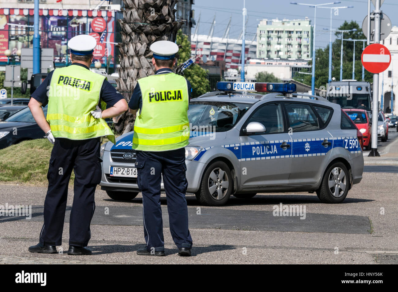 Warsaw city Police on traffic duty in the centre of Warsaw in Poland - Stock Image