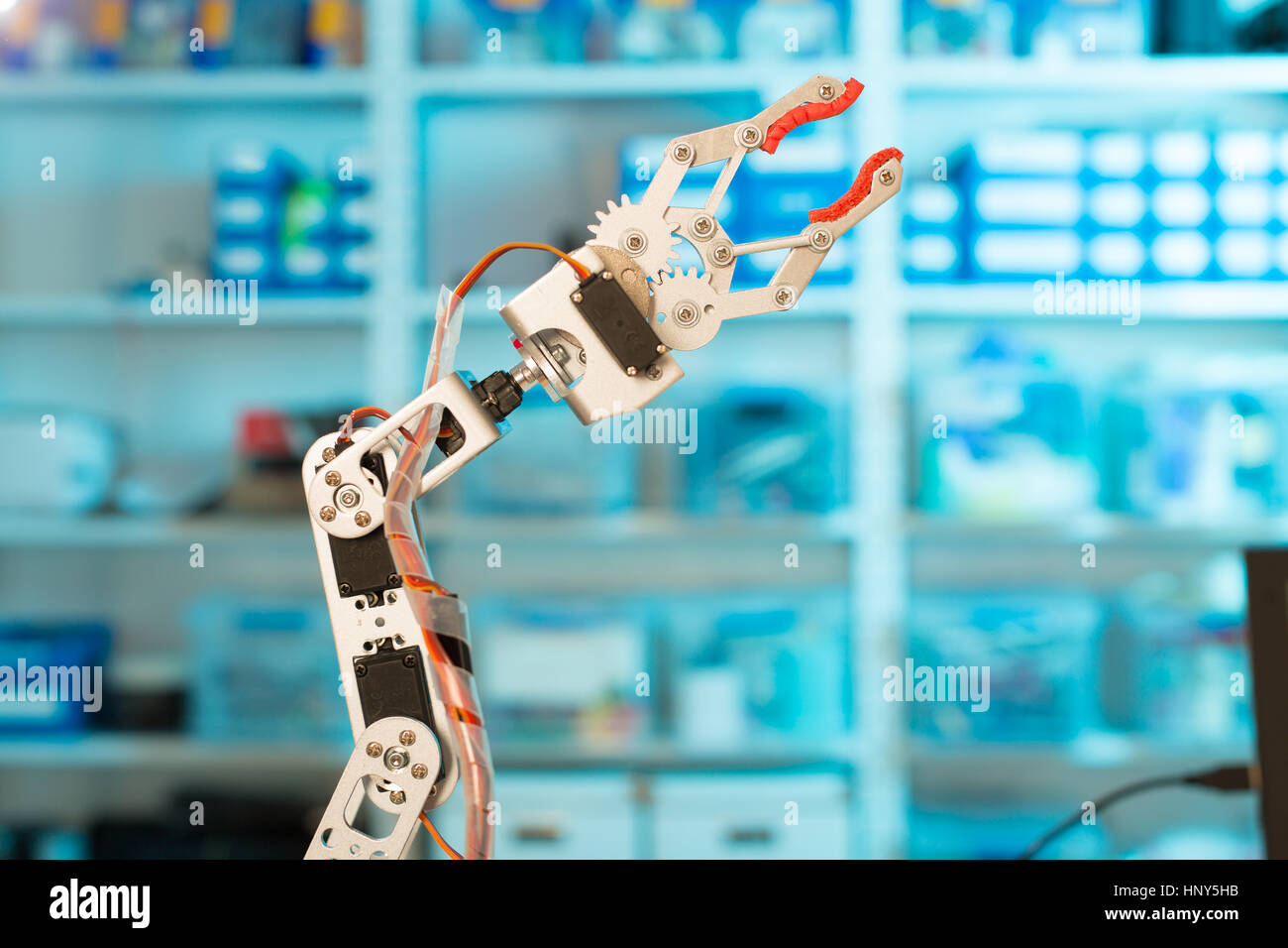 Model of industrial robot manipulator, robot arm - Stock Image
