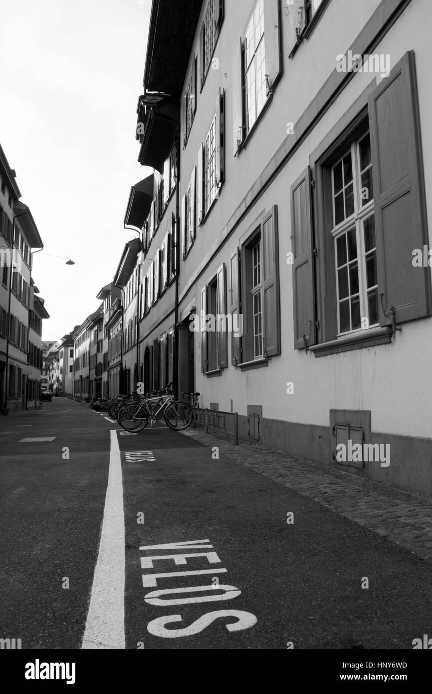 Street scene in the old town - Basel - Switzerland - Stock Image