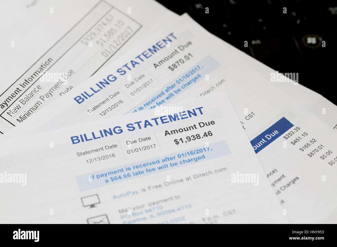 Mortgage billing statements - USA - Stock Image