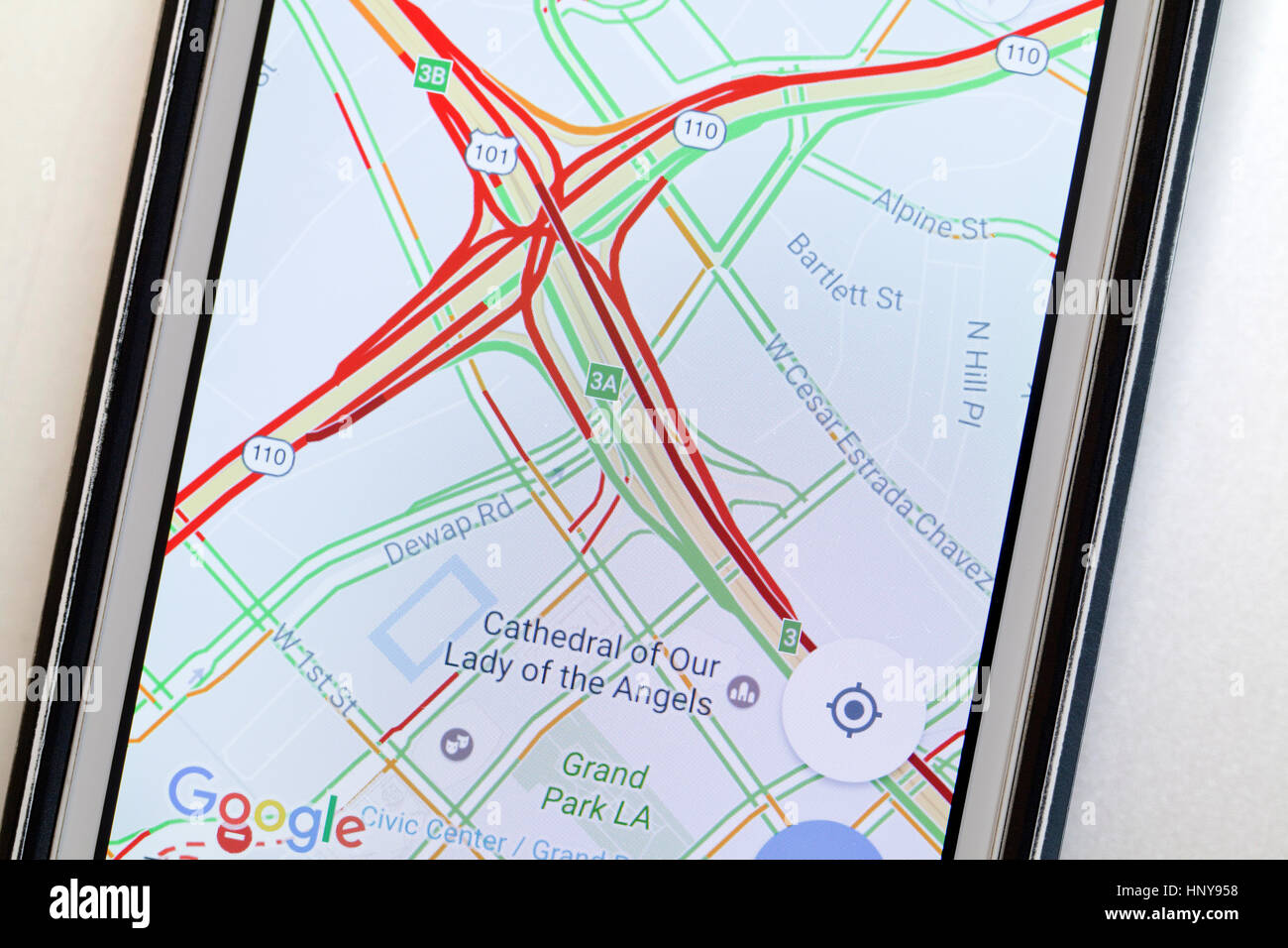 Google Maps Showing Heavy Traffic Usa Stock Photo 133980260 Alamy