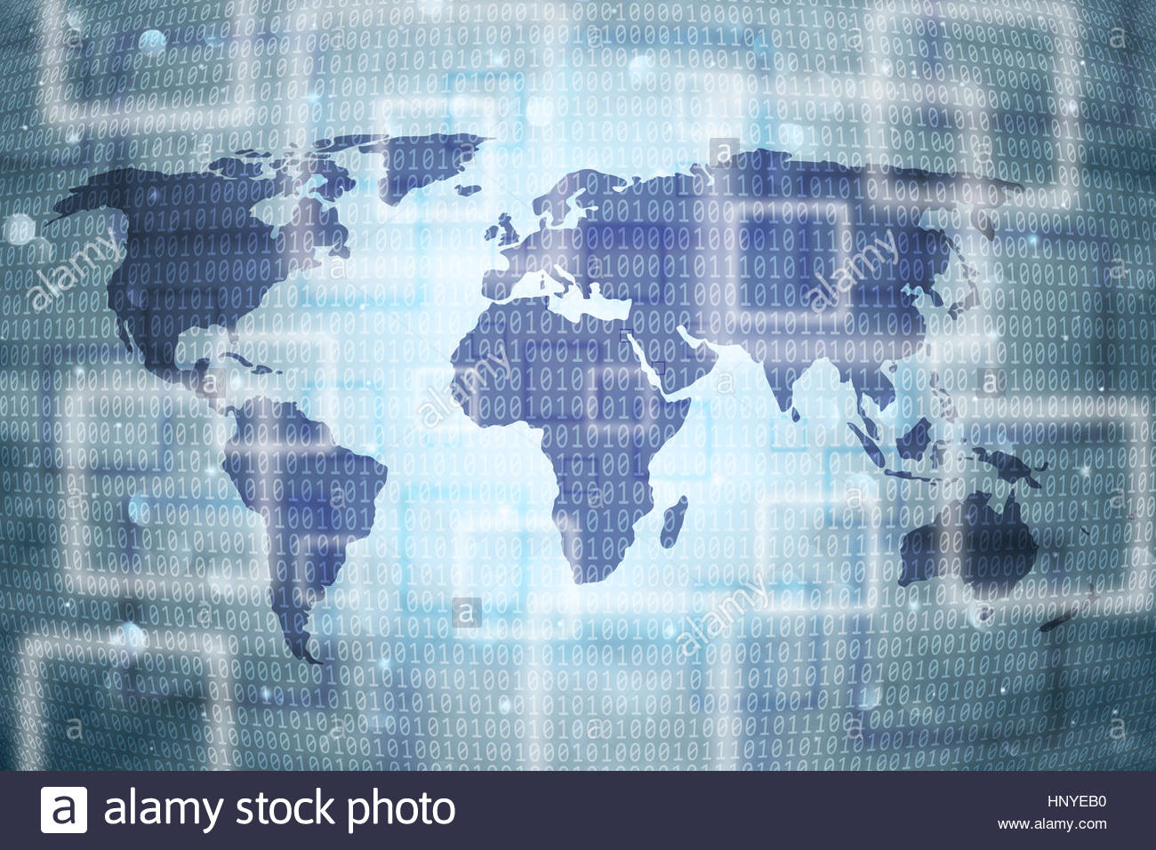 Abstract blue world map with binary numbers illustration background. - Stock Image