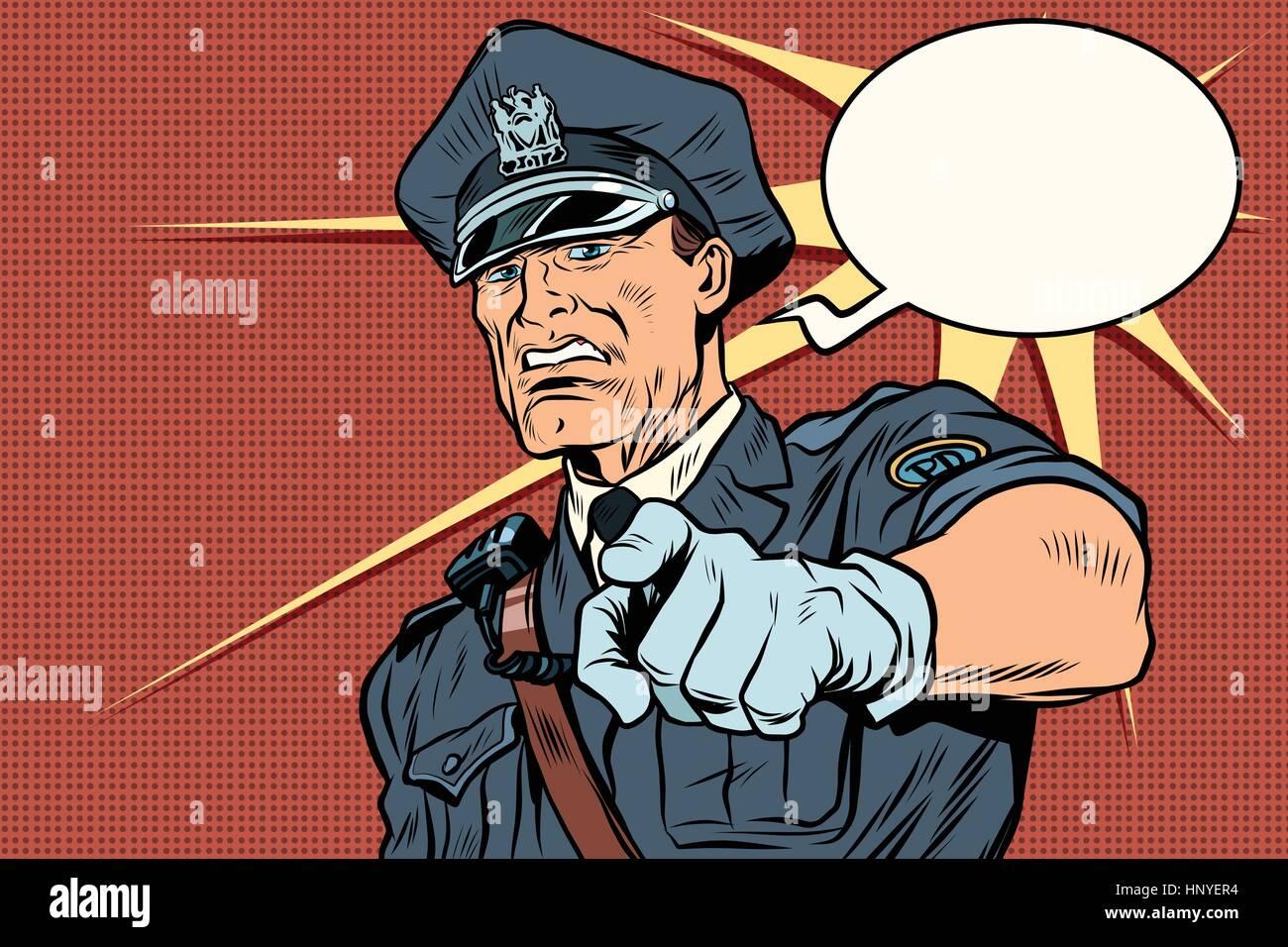 Vintage police officer COP arrests. pop art retro comic book vector illustration - Stock Vector