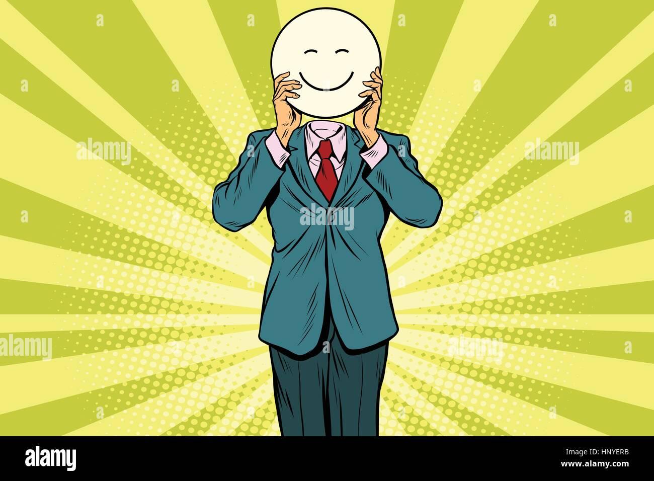 Joy smile. Man smiley Emoji face. Vintage pop art retro comic book vector illustration - Stock Image