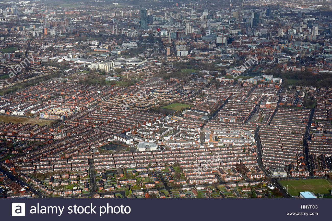 aerial view of Platt Lane & Manchester suburbs, UK - Stock Image
