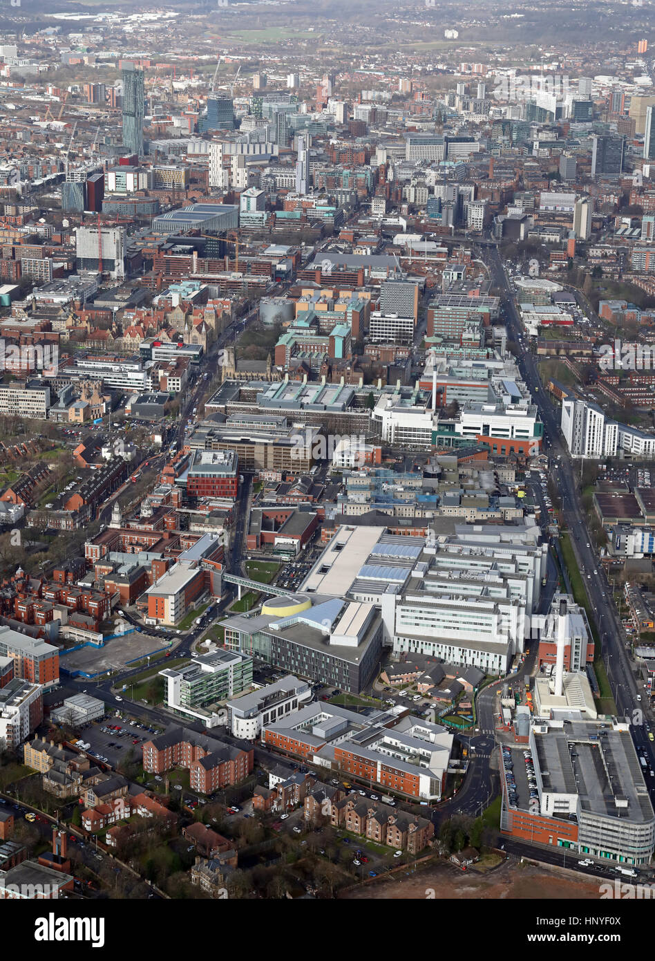 aerial view of St Marys Hospital & Manchester Royal Infirmary, UK - Stock Image