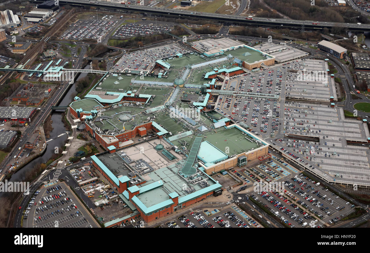 aerial view of the Meadowhall Shopping Centre, Sheffield, UK - Stock Image