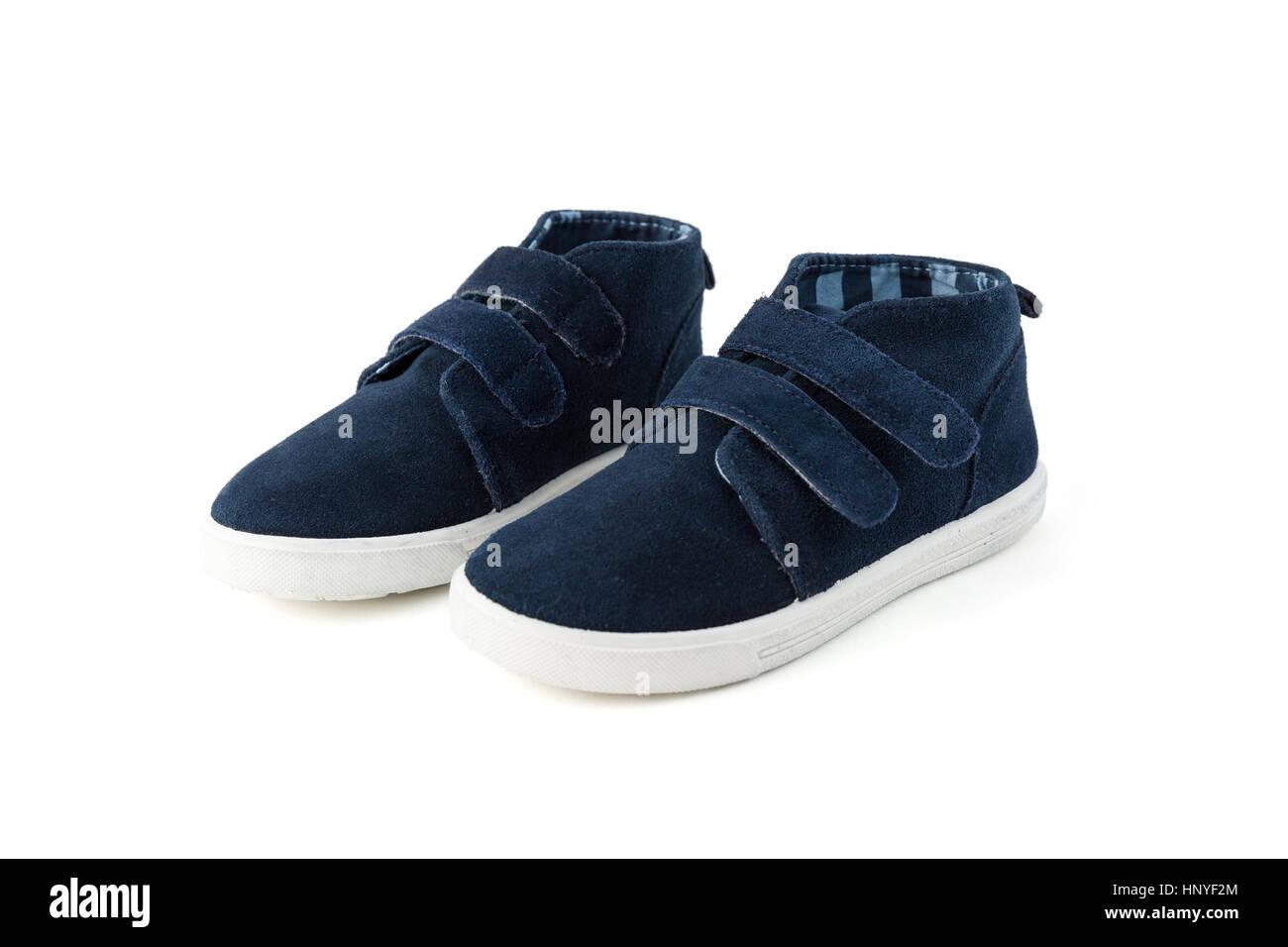 Blue child shoes isolated on white studio shot - Stock Image