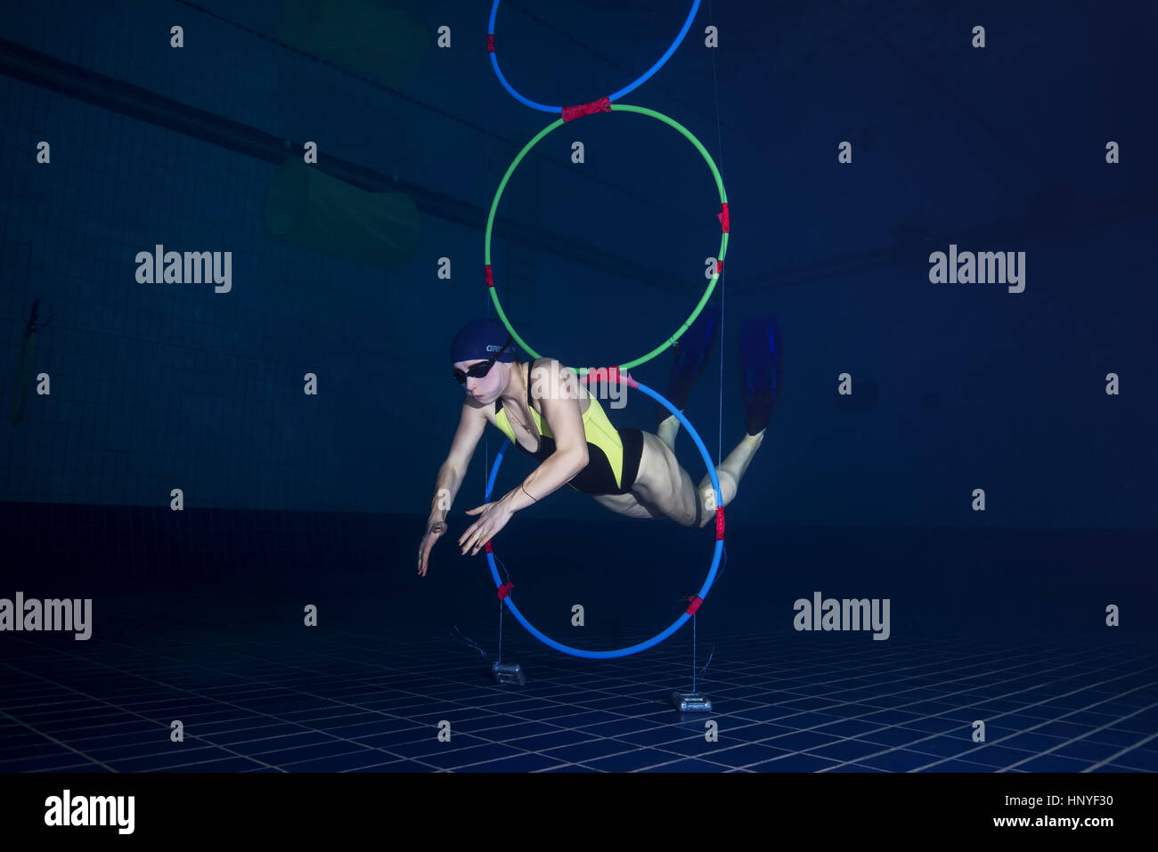 Underwater relay race, Nikolaev, Ukraine - Stock Image