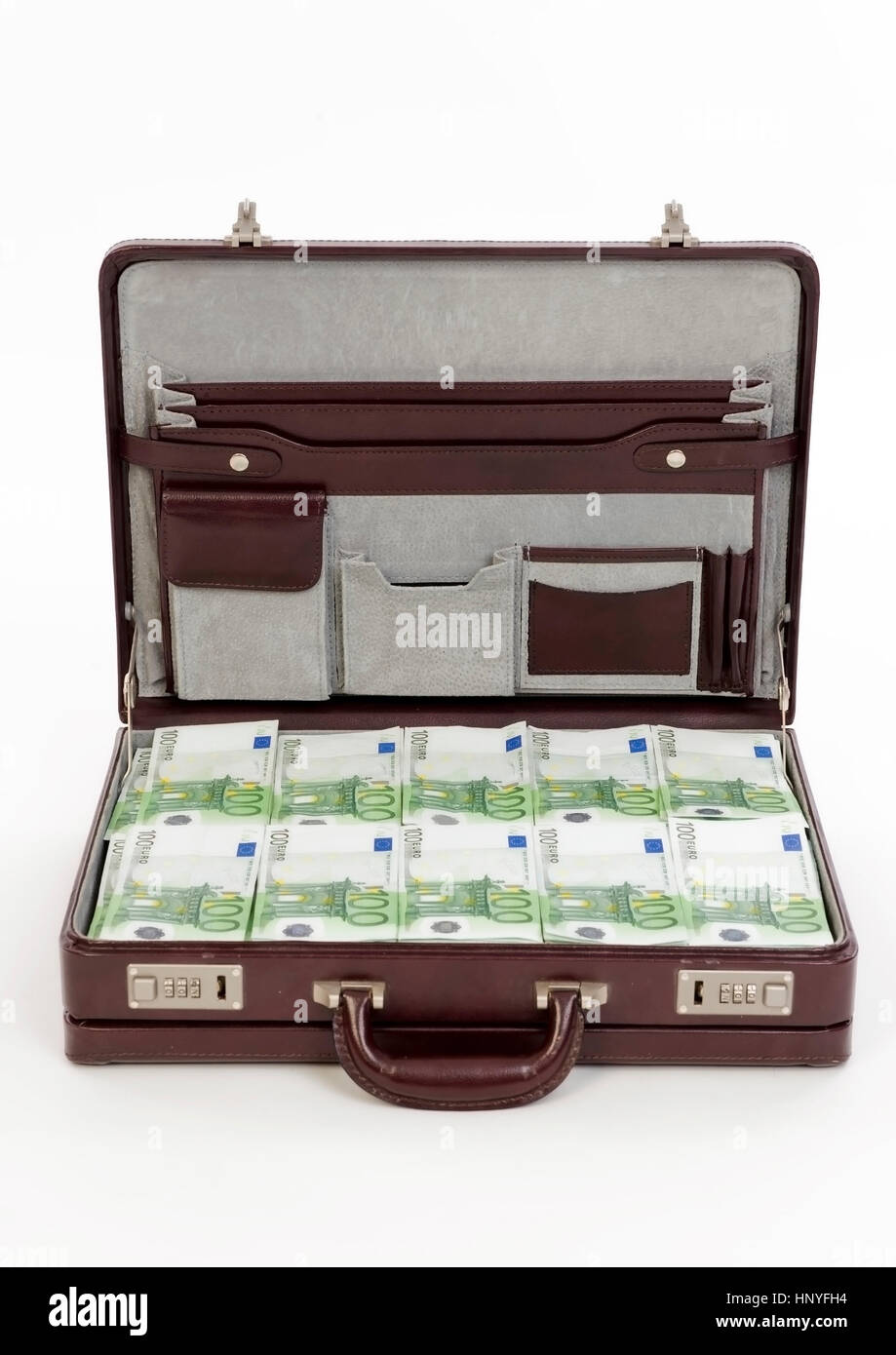 Voller Geldkoffer - full money bag - Stock Image