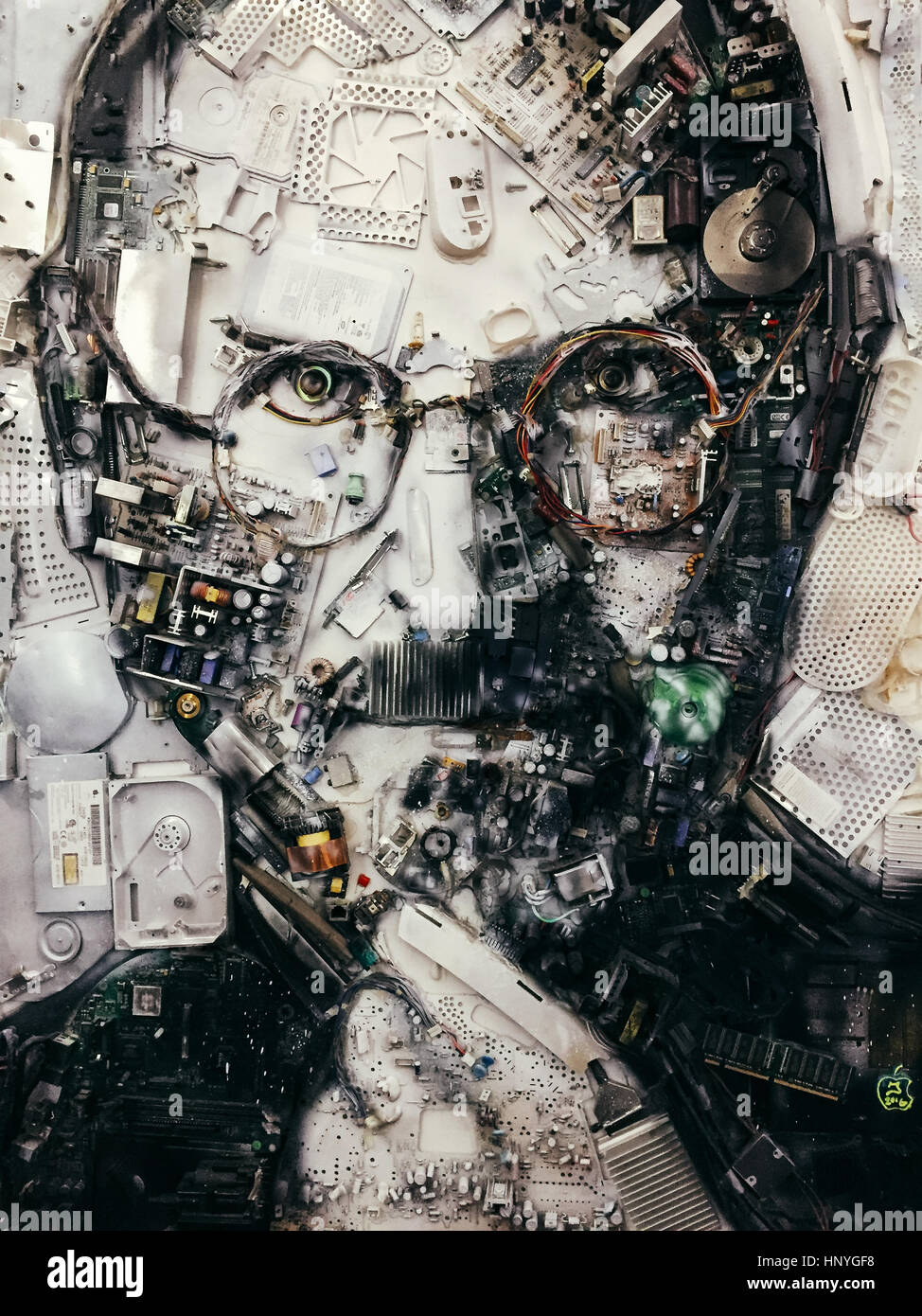 Portrait of Steve Jobs in Apple Museum, Prague, Czech Republic, made out of computer parts. - Stock Image