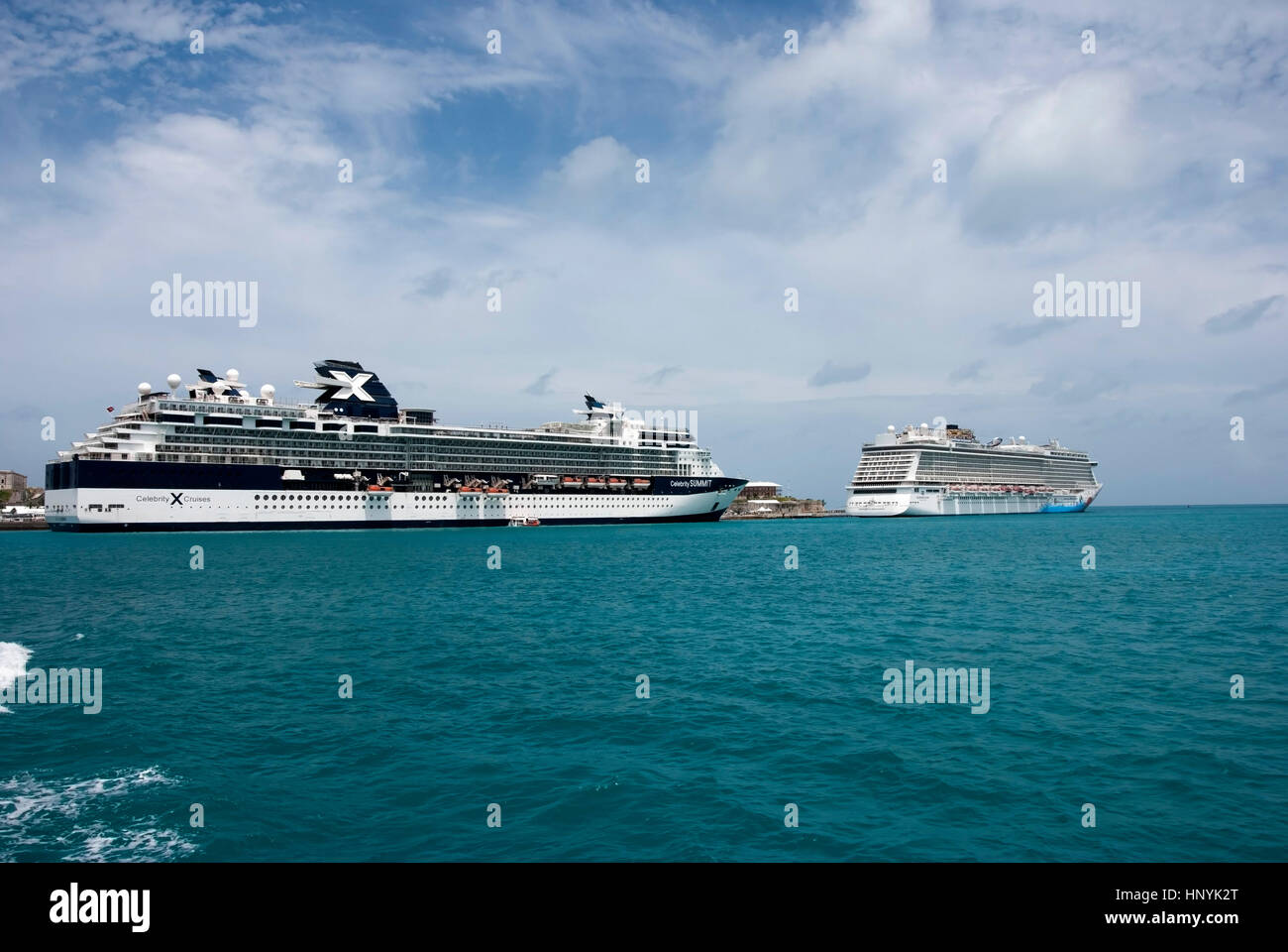 M.V. Celebrity Summit and M.V. Norwegian Breakaway Docked at Royal Naval Dockyard Bermuda - Stock Image