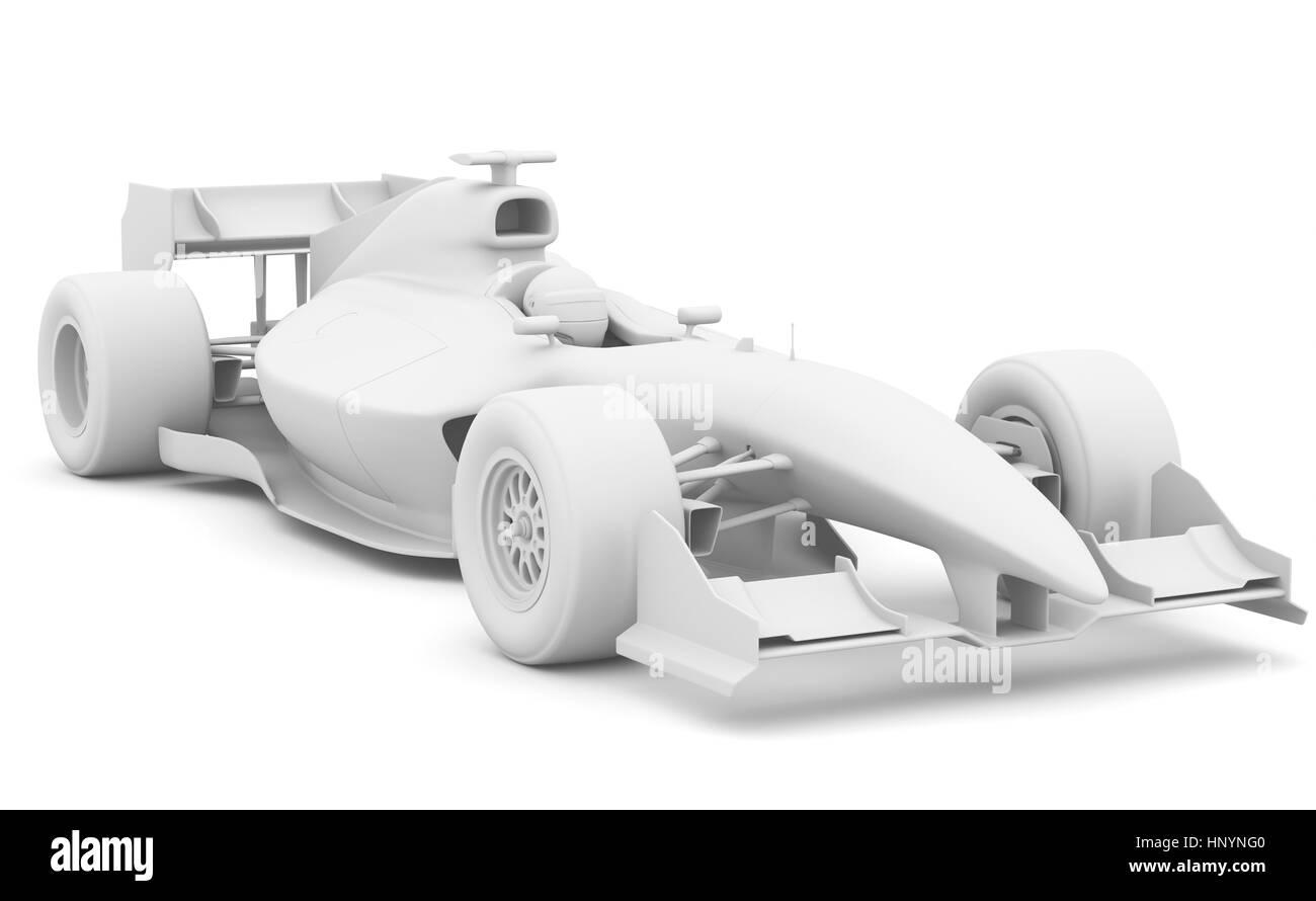 Formula race red car designed by myself. 3D illustration - Stock Image
