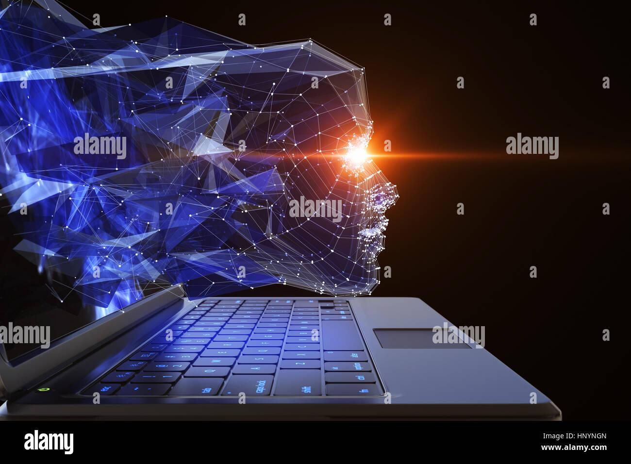 Neuron network concept. 3D illustration - Stock Image