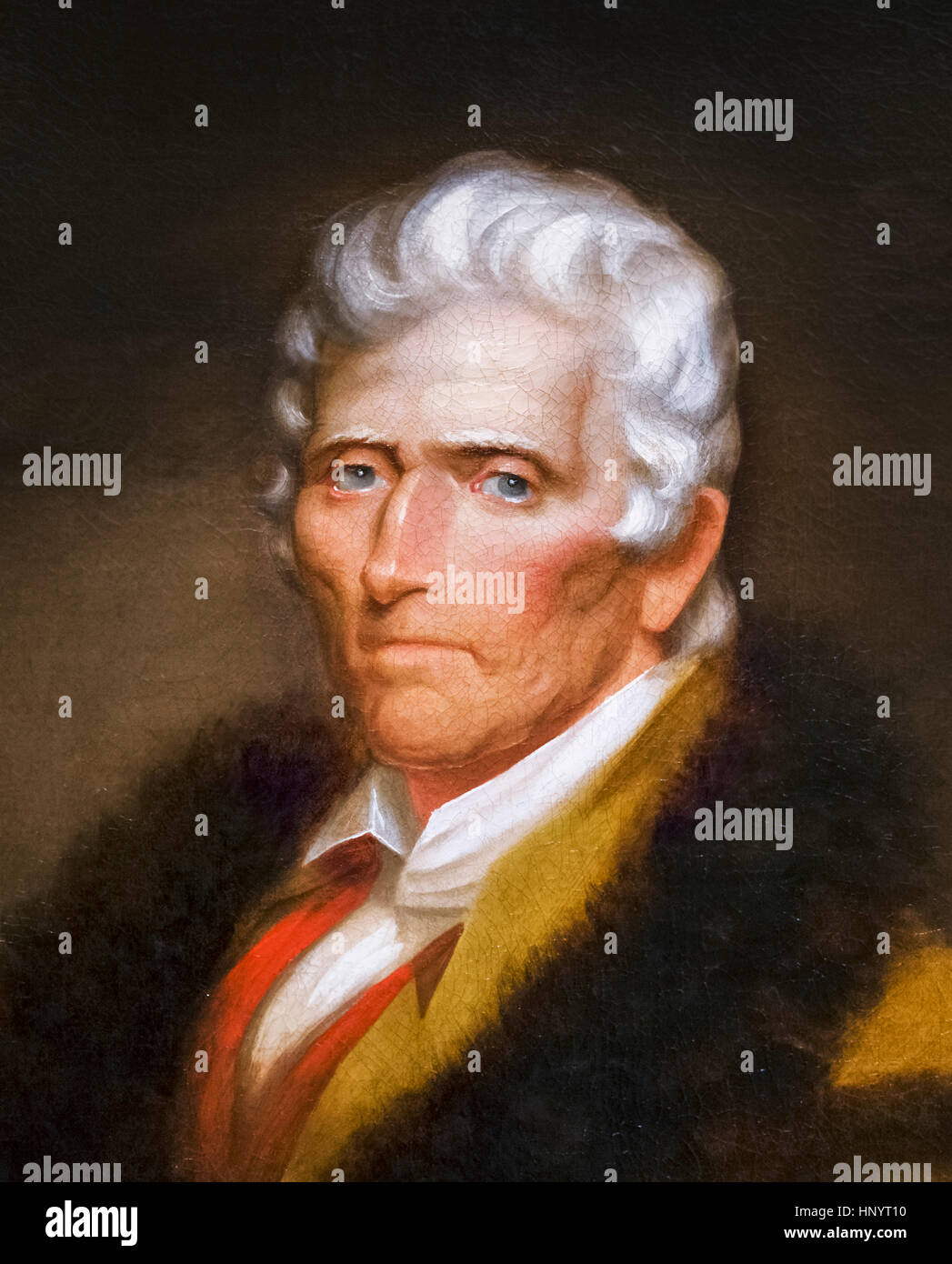 Daniel Boone (1734-1820), portrait by Chester Harding, oil on canvas, 1820. Daniel Boone was a famous American pioneer - Stock Image