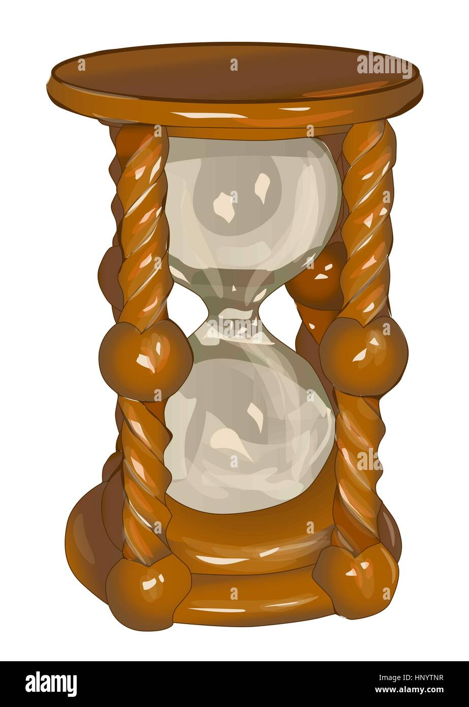 Sands of time. Hourglass against the dunes - Stock Image