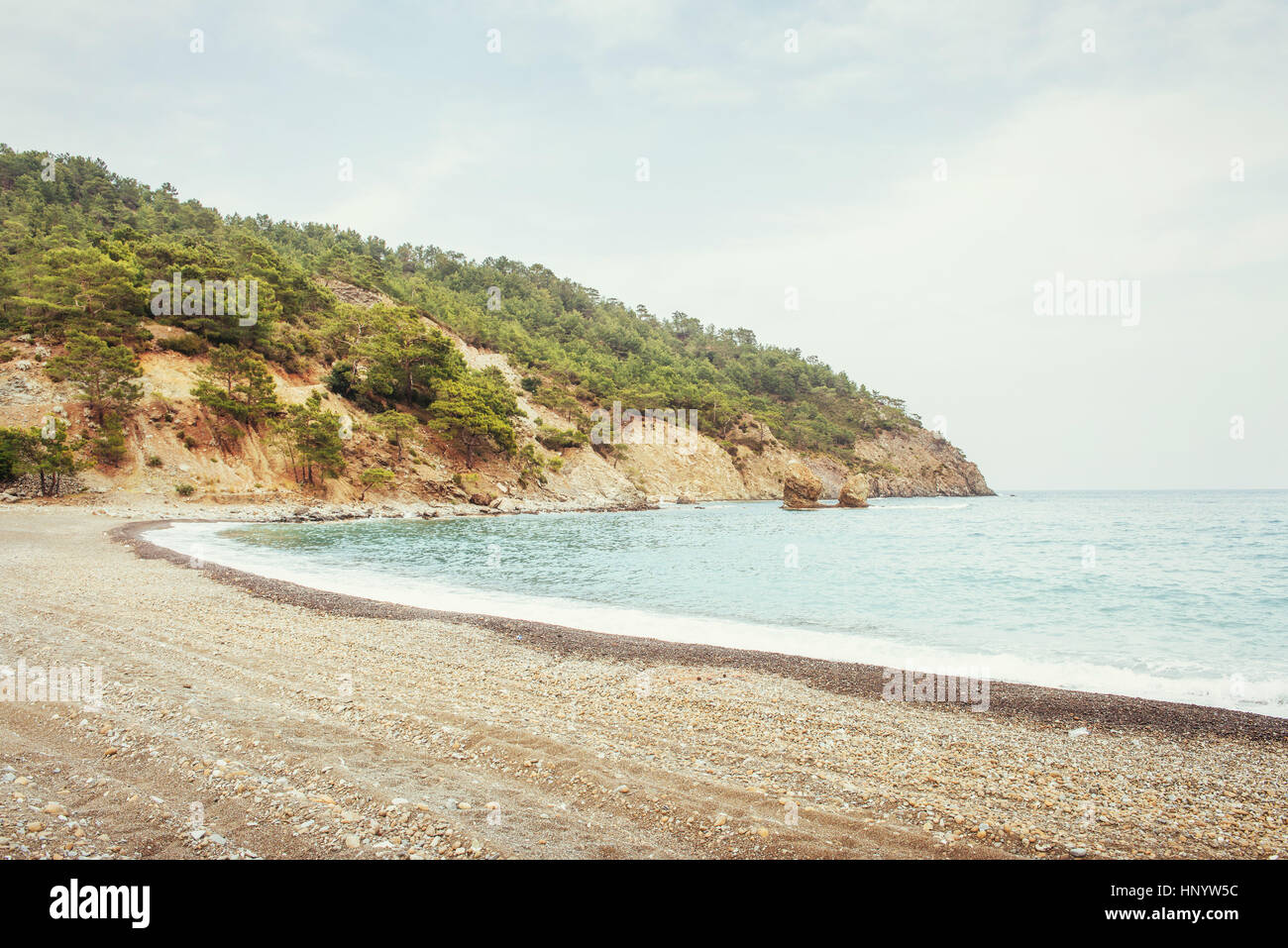 Panoramic view on sea coast near Antalya, Turkey - Stock Image