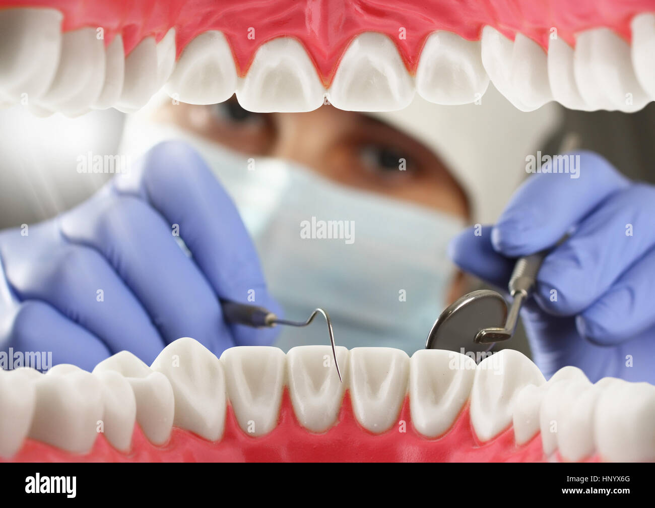 dentist checkup teeth, Inside mouth view - Stock Image