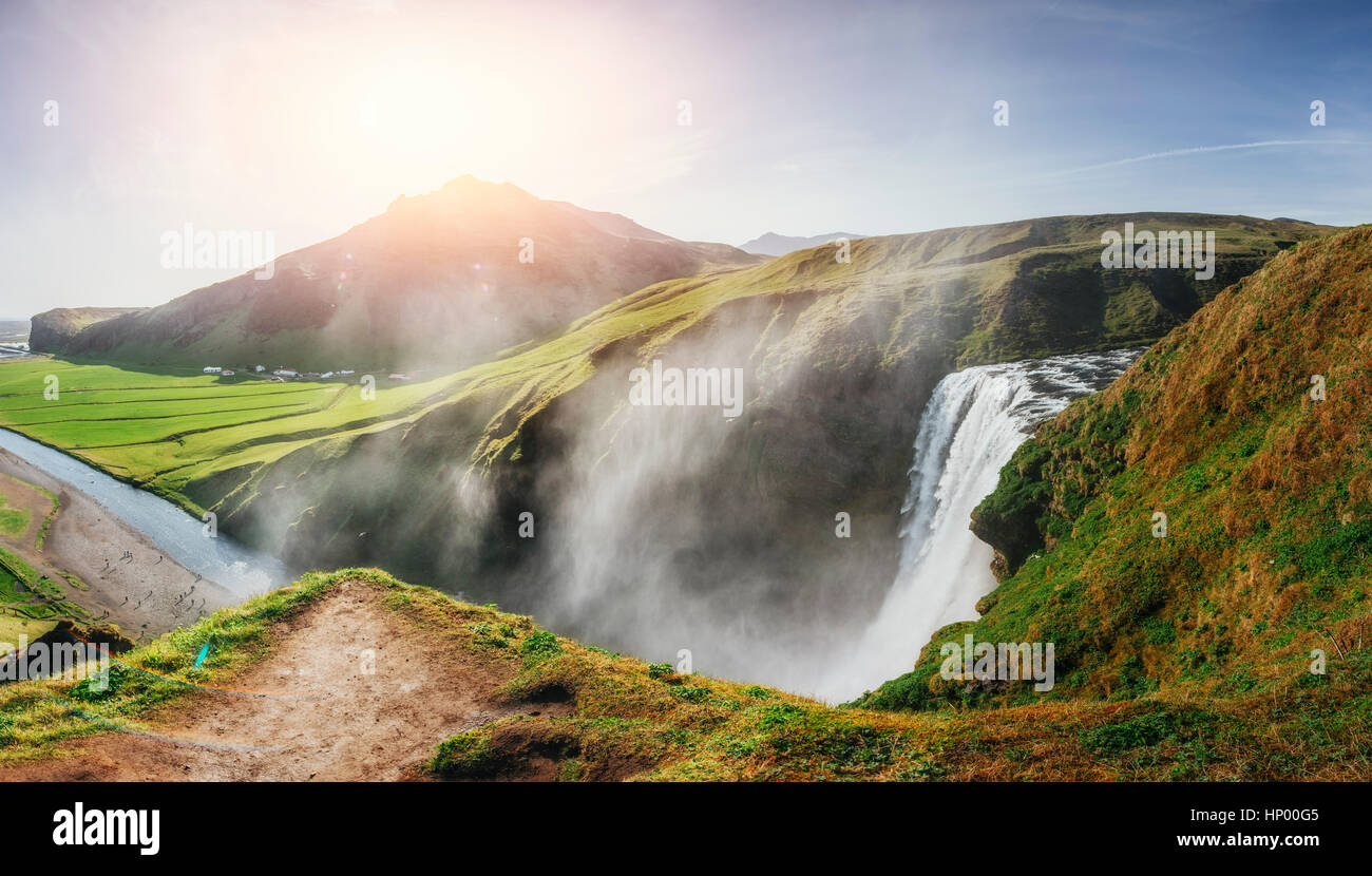 Great waterfall Skogafoss in south of Iceland - Stock Image