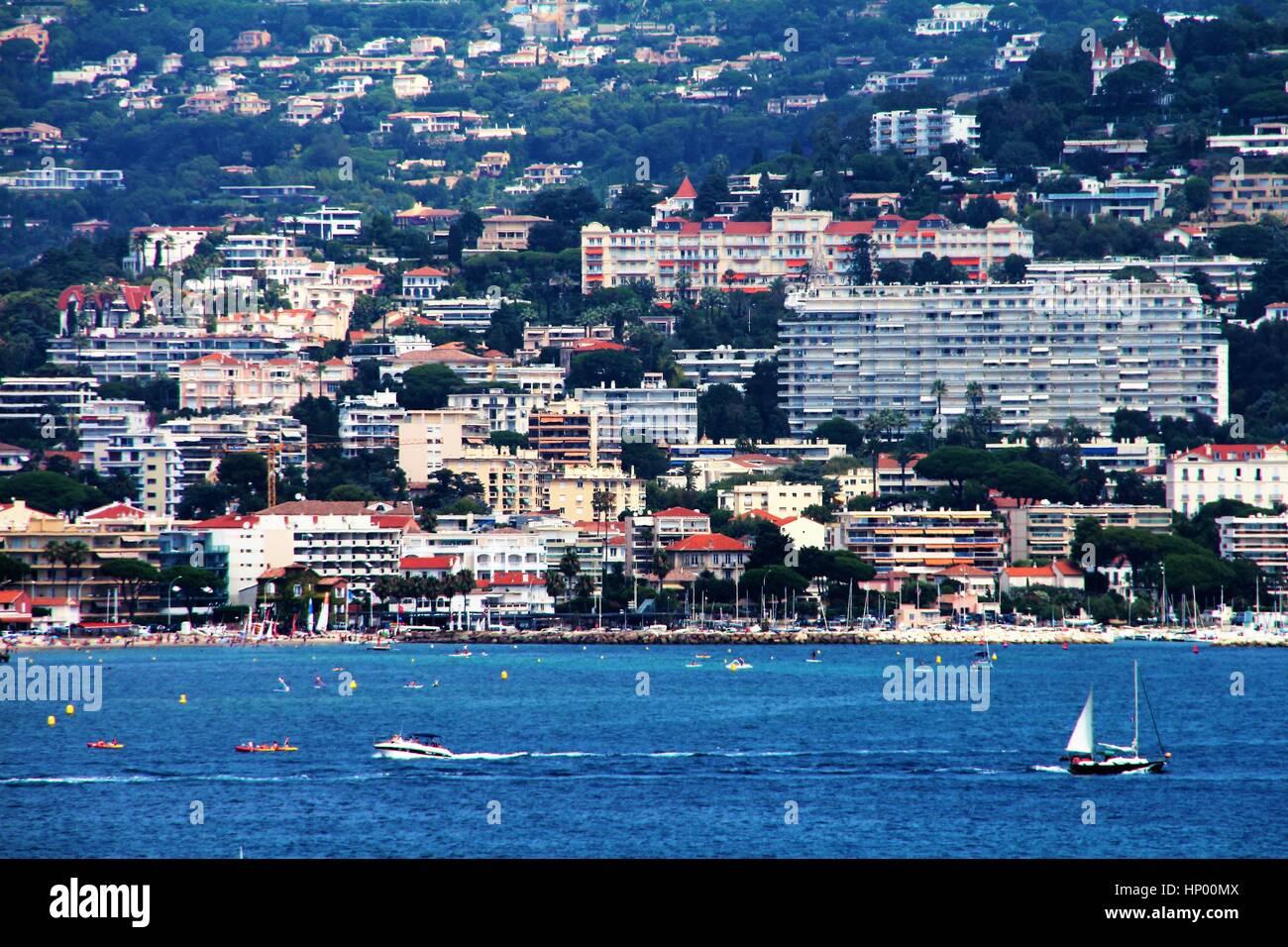 French Riviera beach landscape Stock Photo