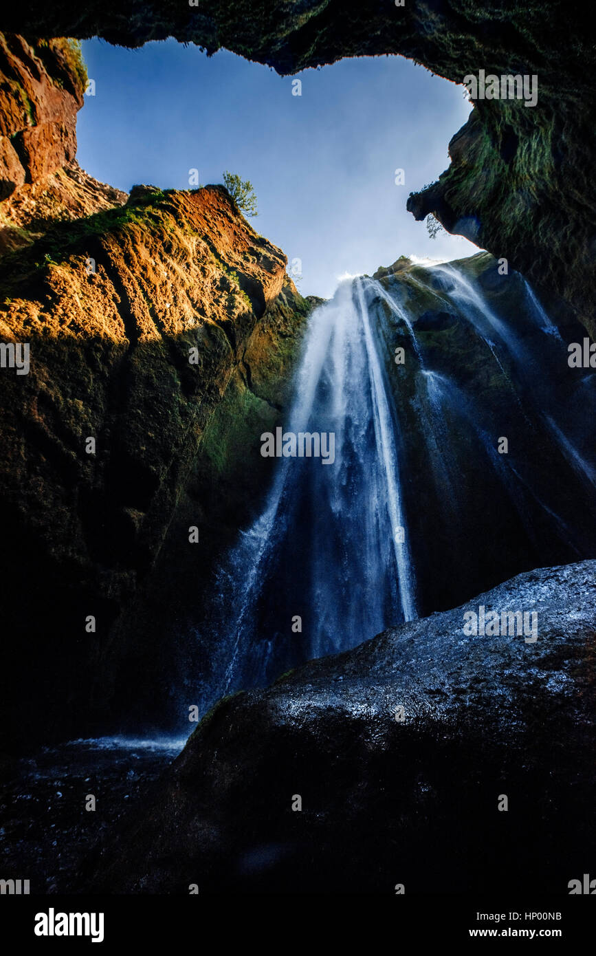 Extreme beautiful waterfall Gljufrafoss, hidden in a gorge in Ic - Stock Image