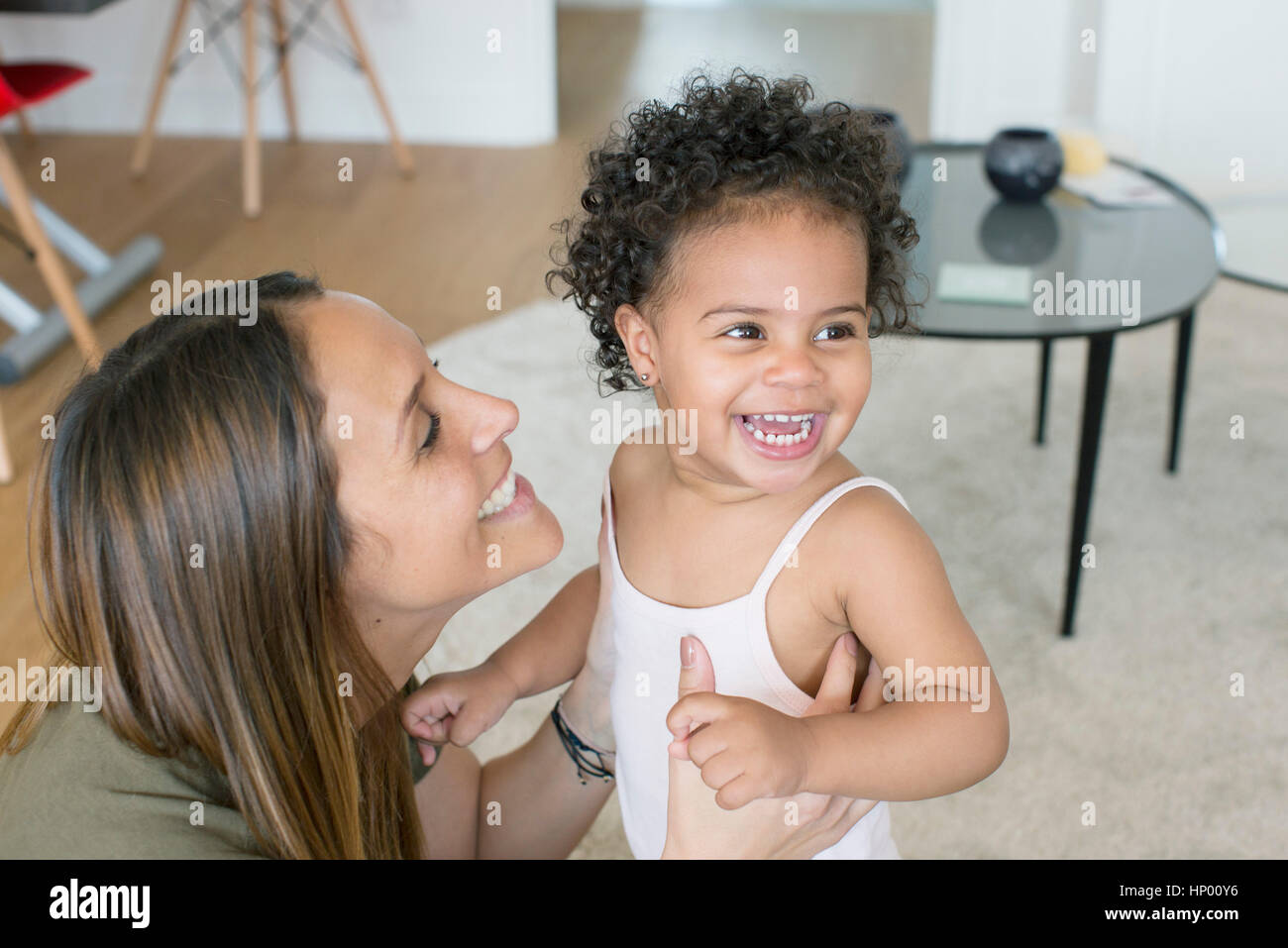 Mother with toddler daughter - Stock Image