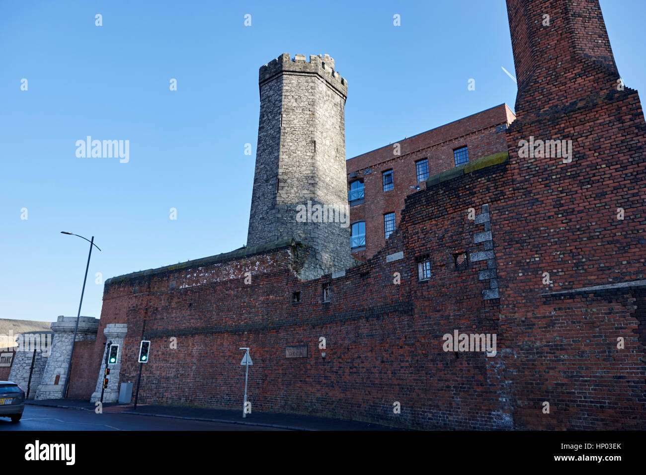 stanley dock red brick walls and granite tower at titanic hotel liverpool uk Stock Photo
