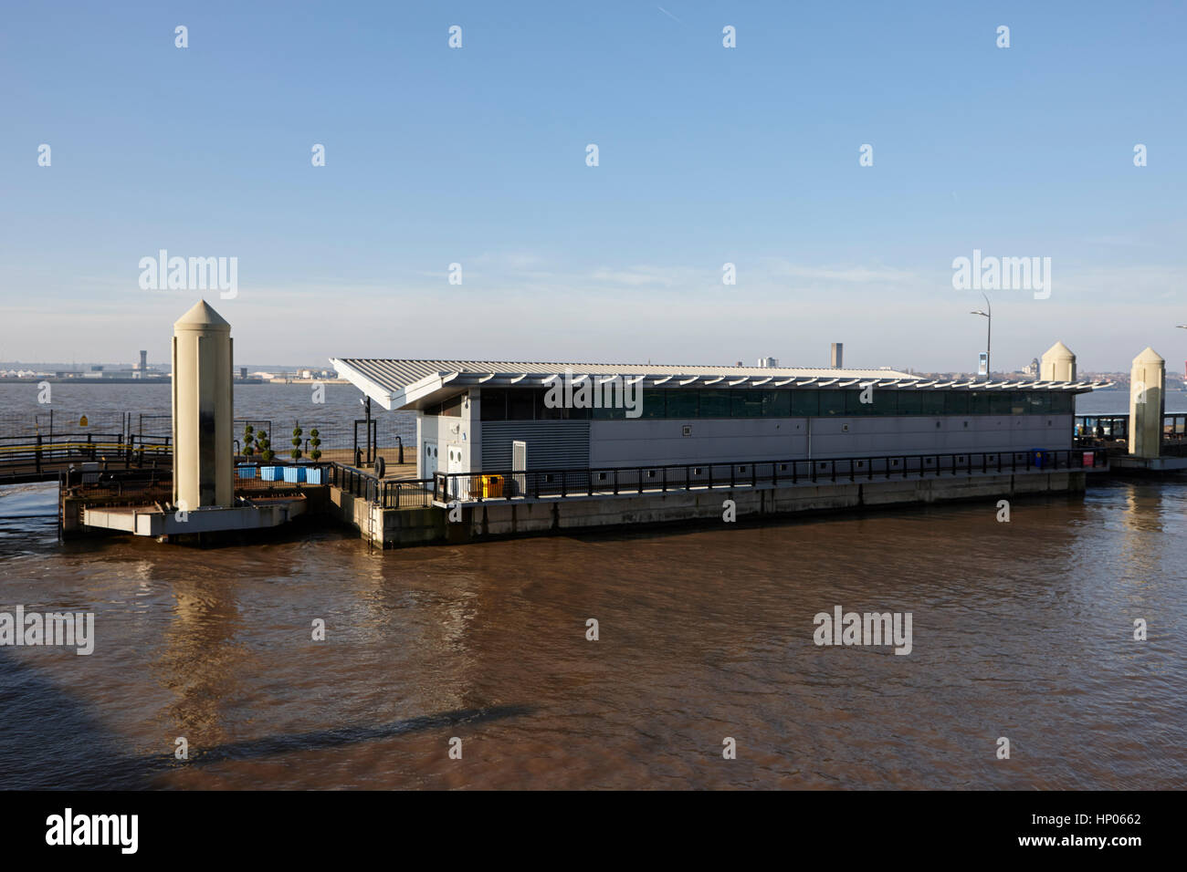 liverpool cruise terminal floating berth river mersey uk - Stock Image