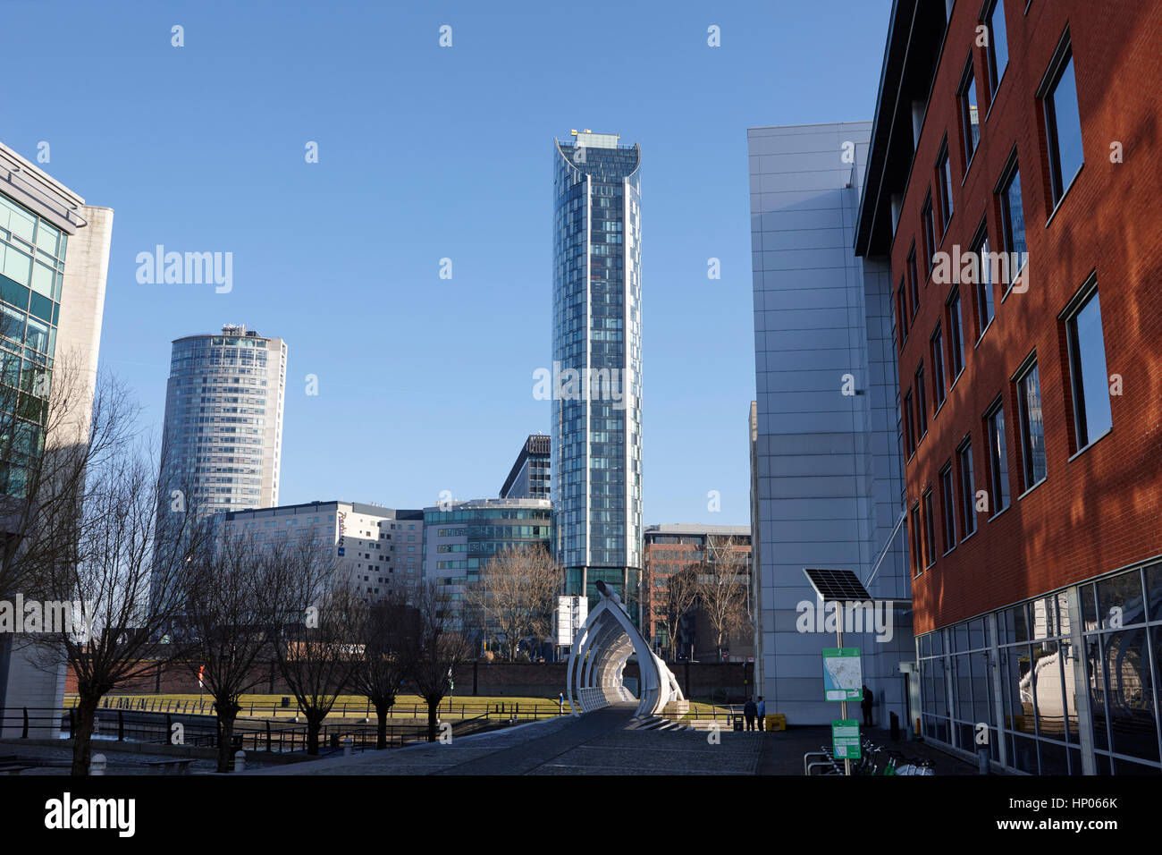 view of the west tower and liverpool skyline from liverpool waters phase one redevelopment princes dock liverpool - Stock Image