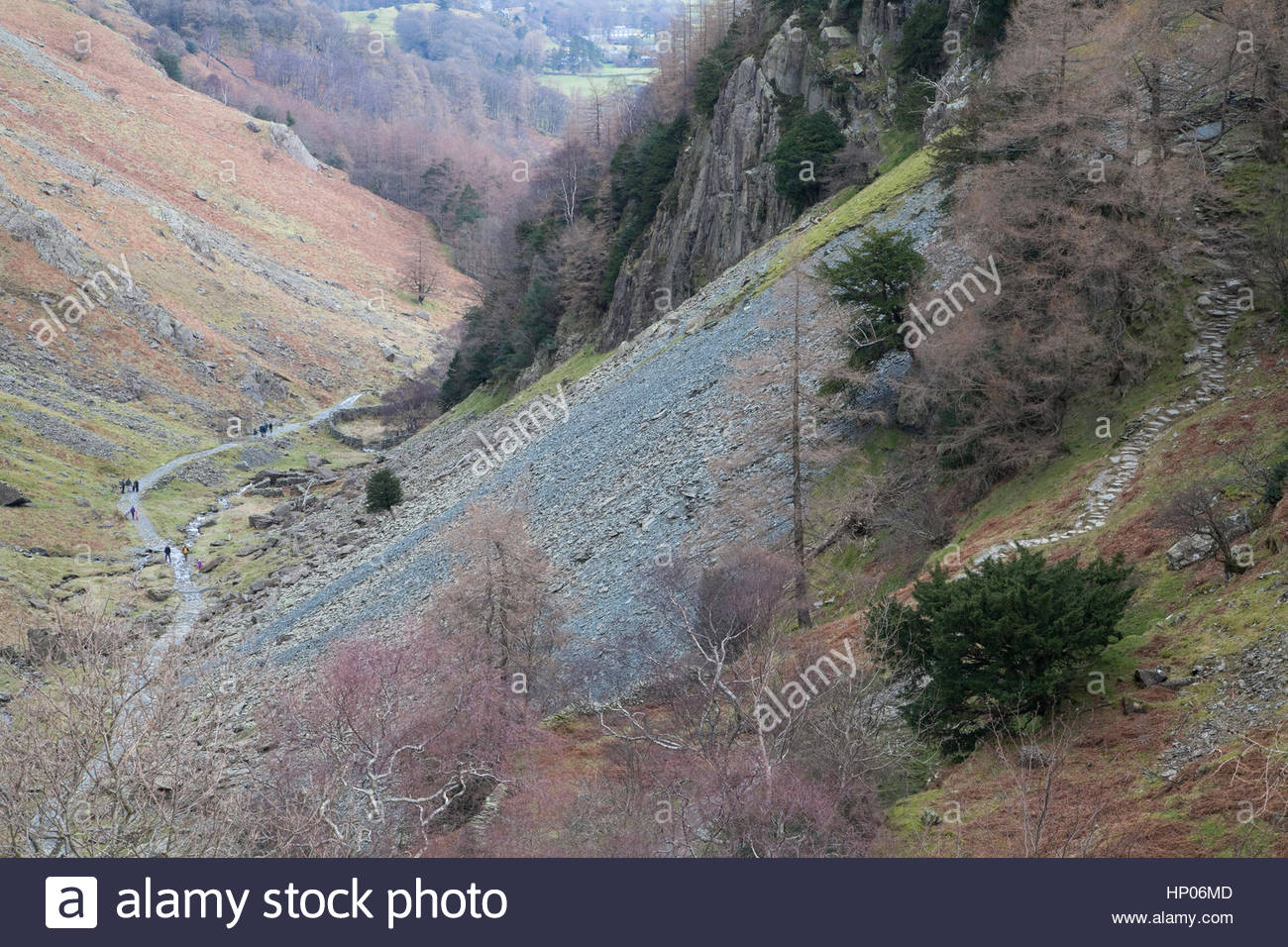 The Allerdale Ramble path as it passes Castle Crag - Stock Image