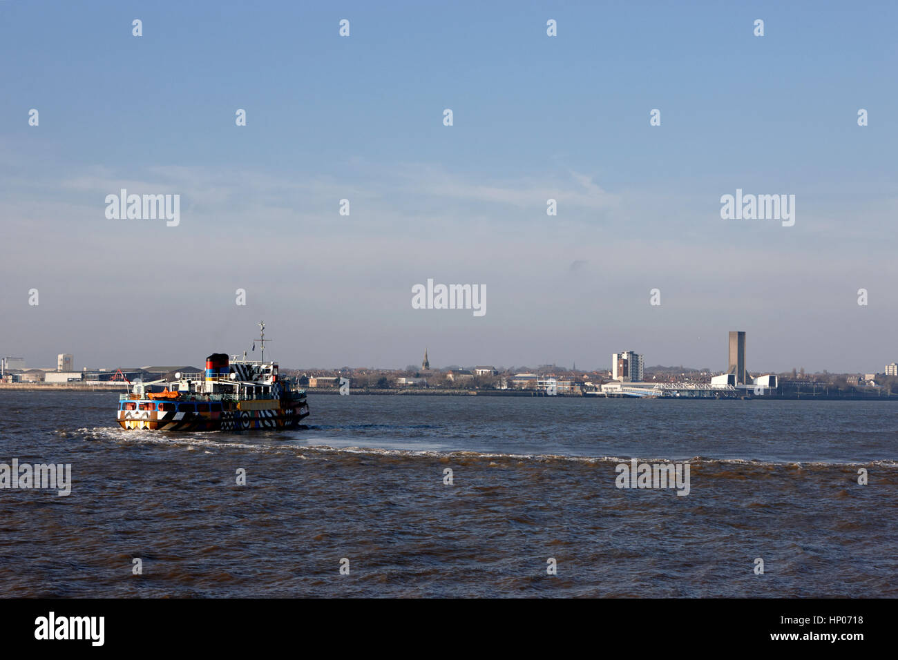 ferry crossing the mersey liverpool uk - Stock Image