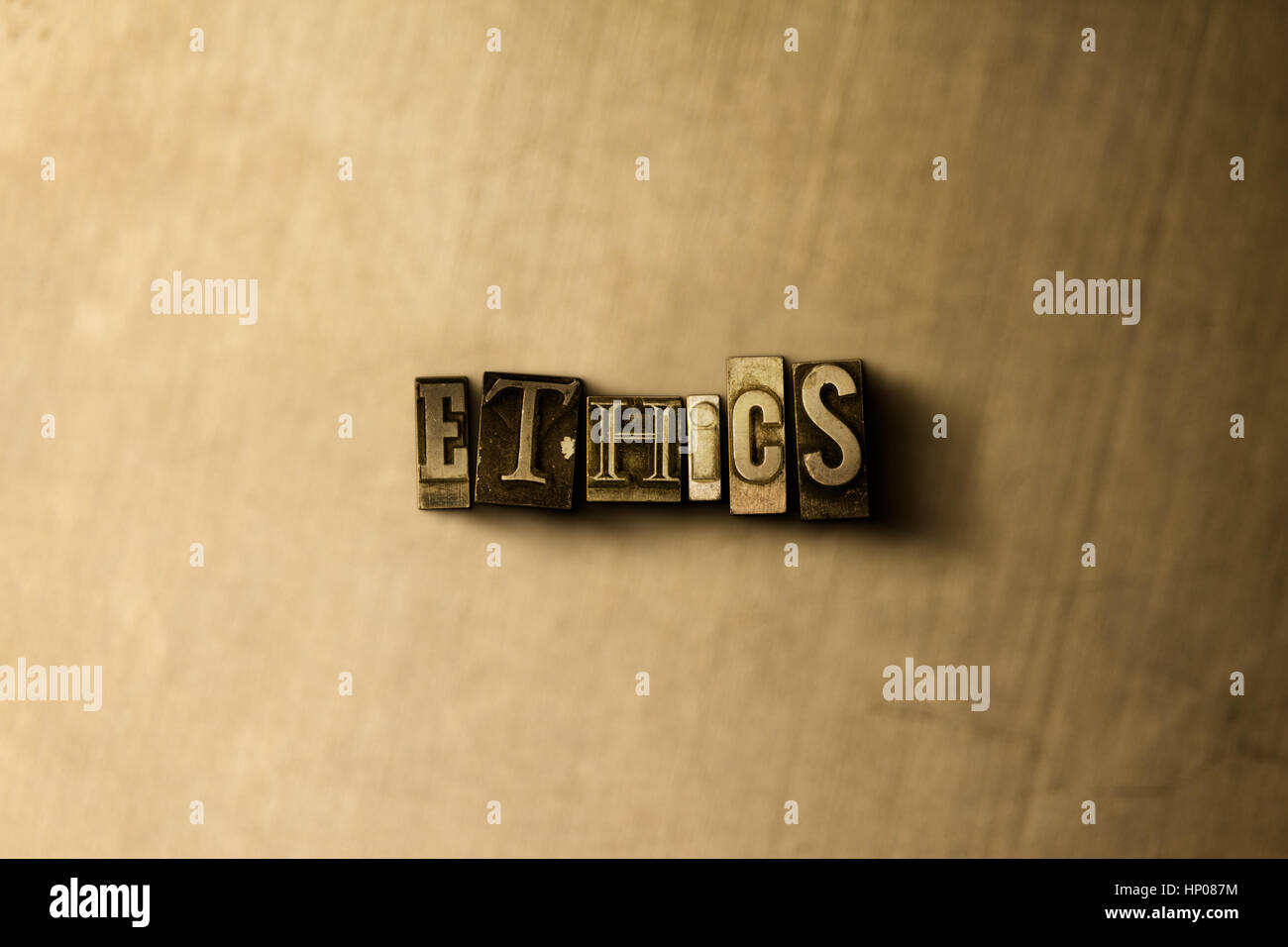 ETHICS - close-up of grungy vintage typeset word on metal backdrop. Royalty free stock illustration.  Can be used - Stock Image