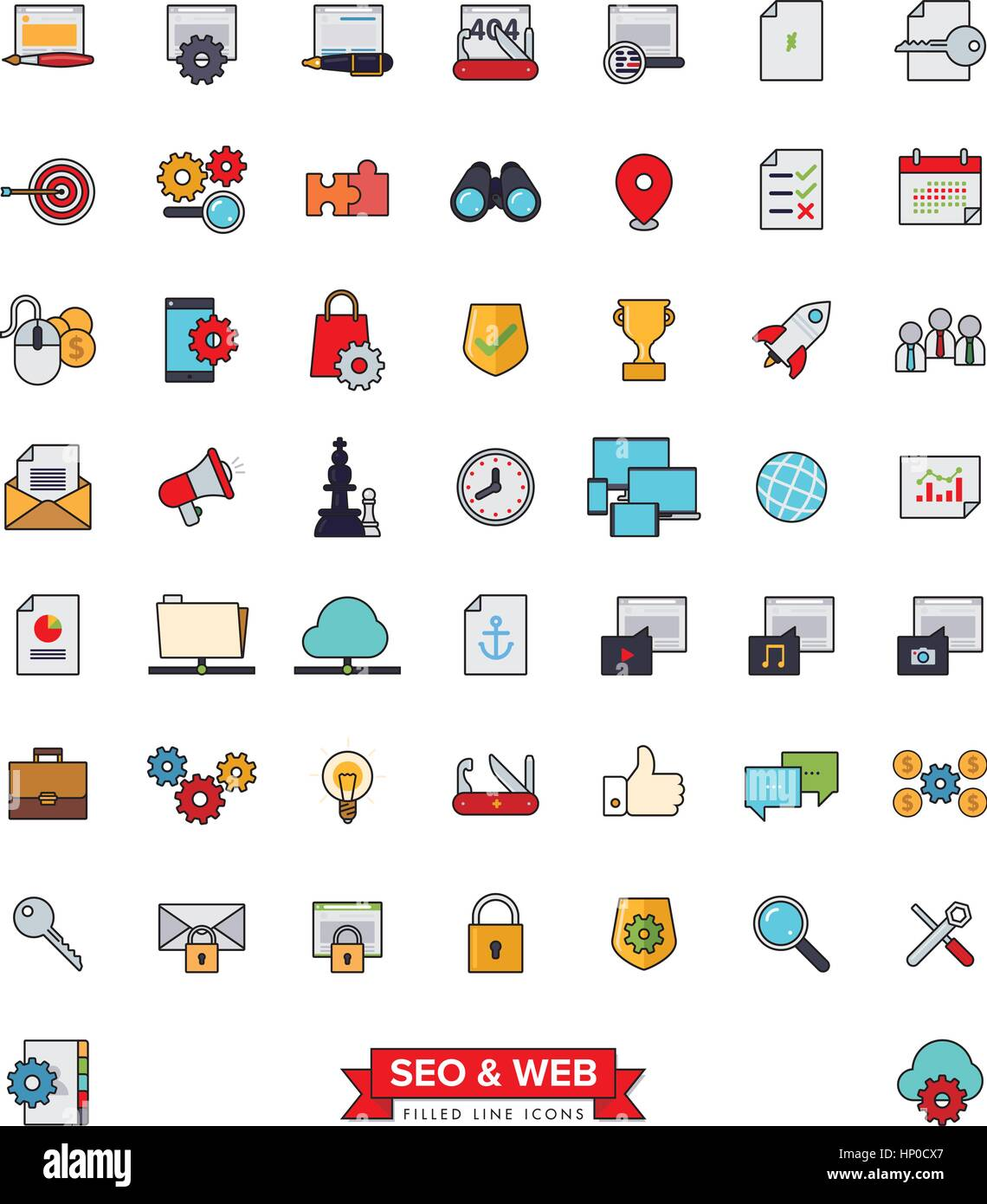 Collection of 51 SEO and Web Services filled line icons - Stock Image
