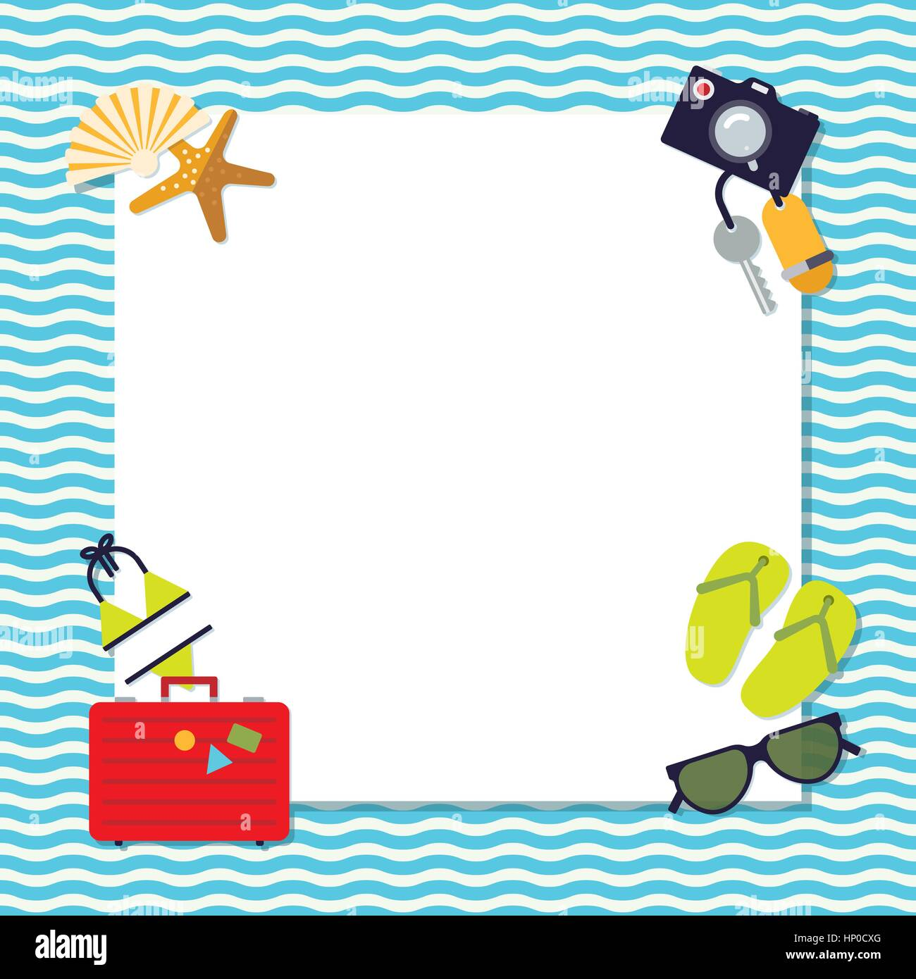 Flat design square Summer holidays background with travel and vacation items around copy space - Stock Vector