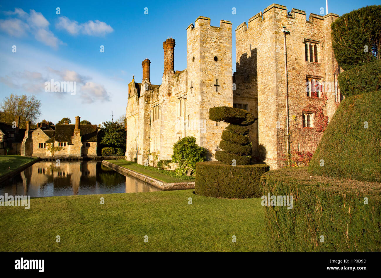 Hever Castle and Moat - Stock Image