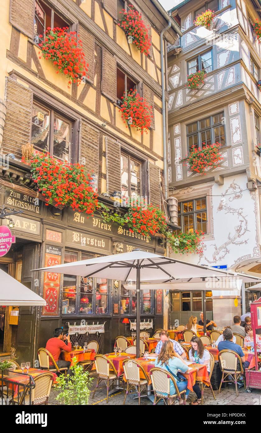 au vieux strasbourg, traditional alsatian restaurant, Stock Photo