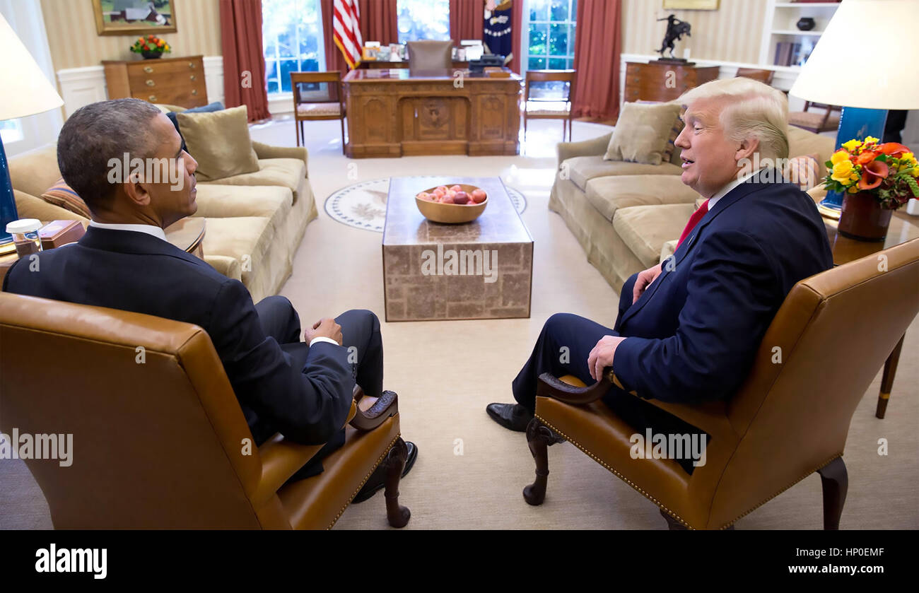 PRESIDENT BARACK OBAMA with President-Elect Donald Trump in the Whiote House Oval office.  Photo: Pete Souza/White - Stock Image