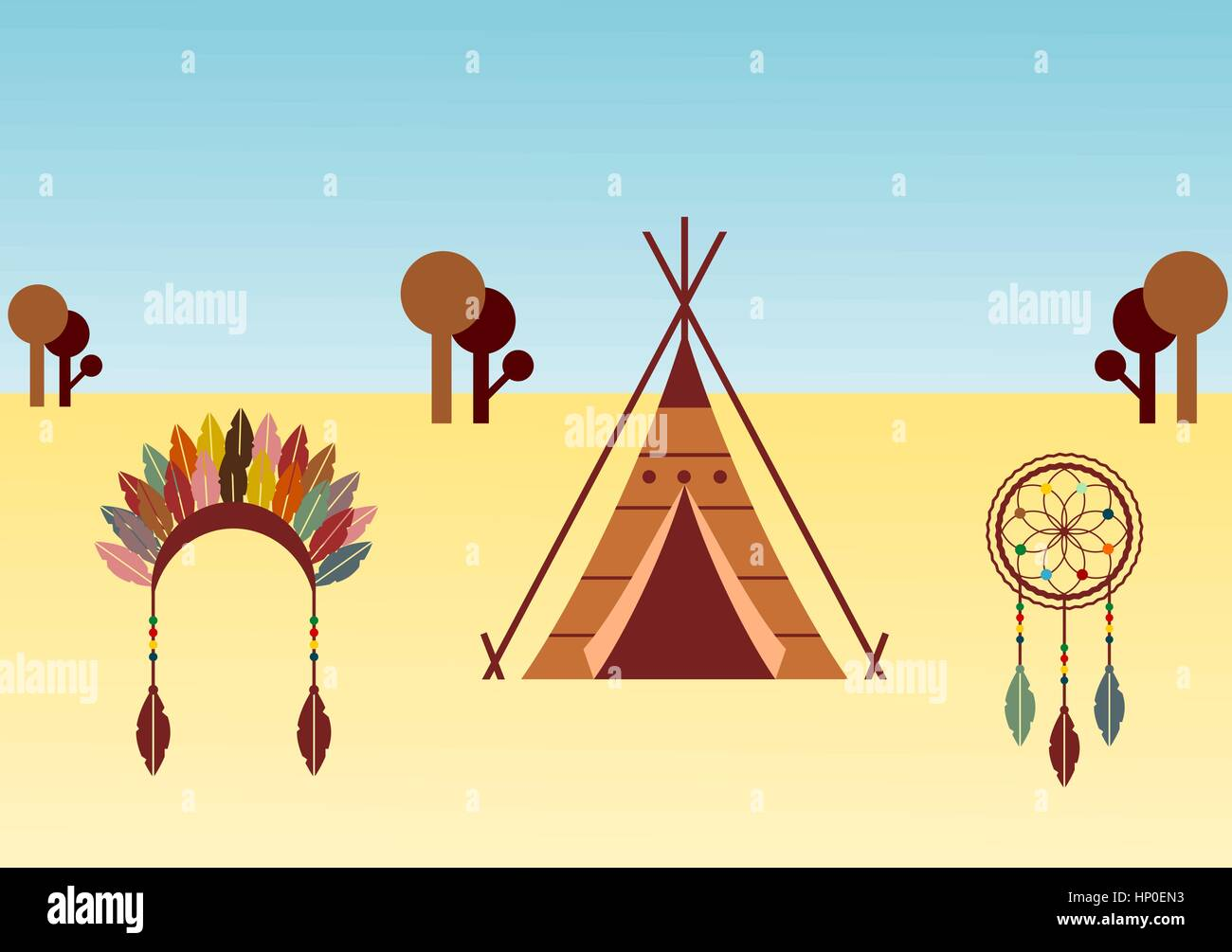 Native american themed illustration with wigwam, dreamcatcher and headdress - Stock Image