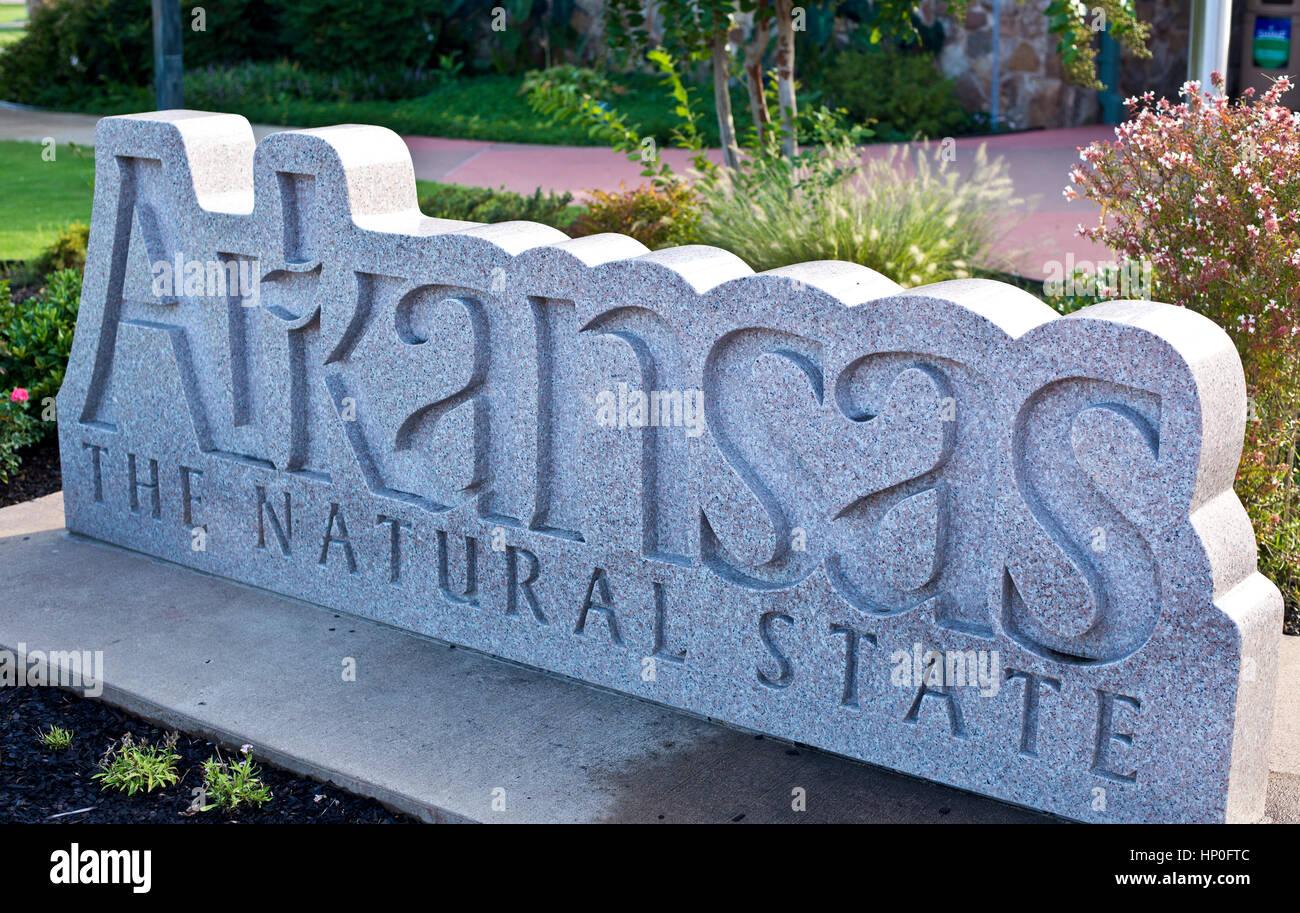 Stone Arkansas sign, welcome centre, Blytheville, Arkansas, USA - Stock Image