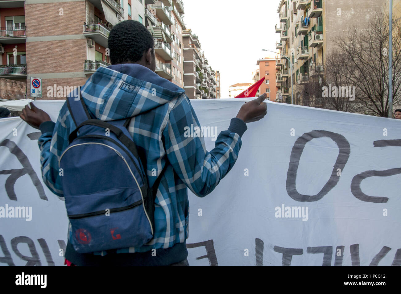 Italy. 16th Feb, 2017. Protest movements for the right to housing against the latest evictions under the Lazio region - Stock Image