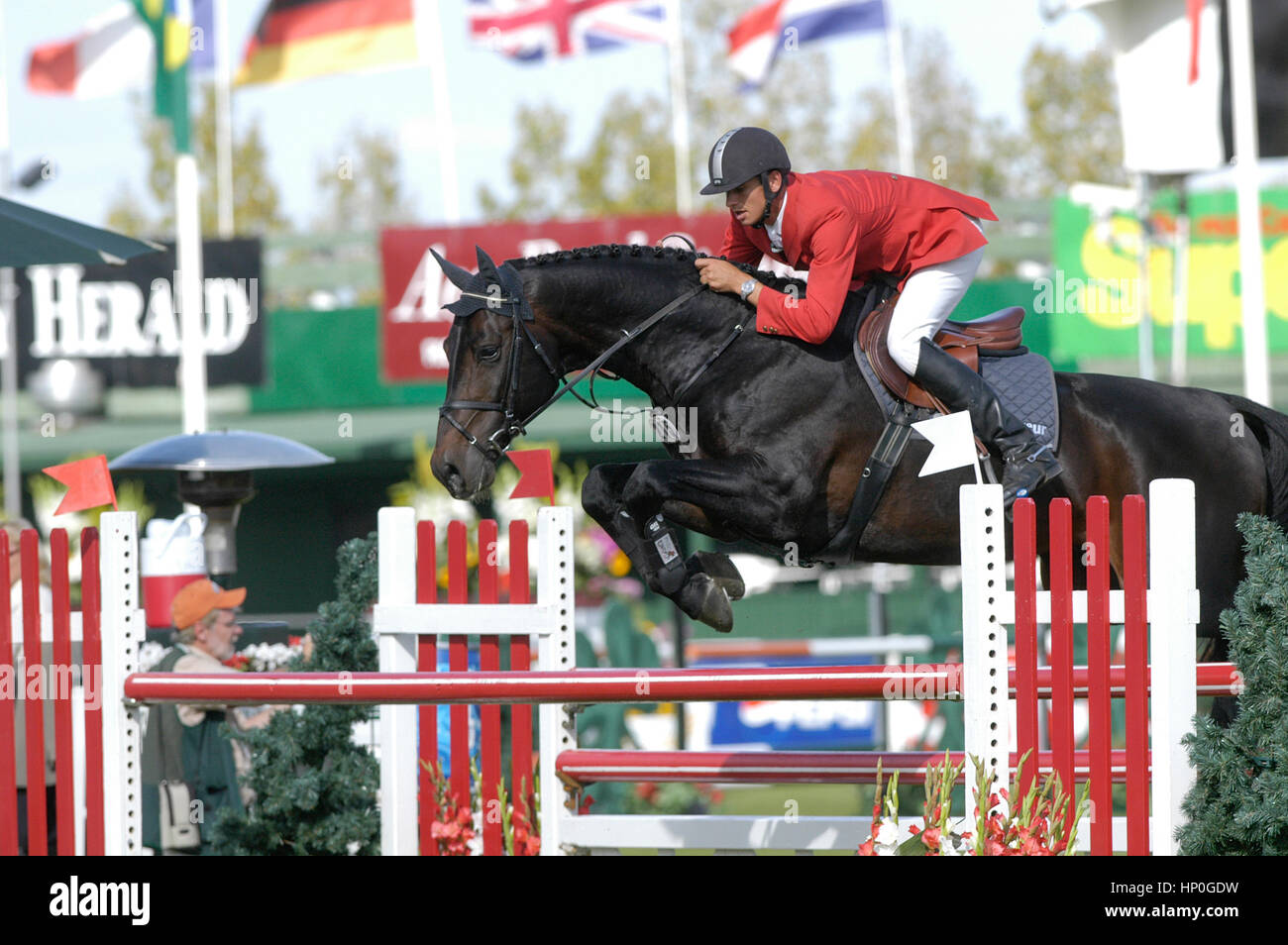 CSIO Masters, Spruce Meadows, September 2005, CANA CUP, Marco Kutscher (GER) riding Montender 2 Stock Photo