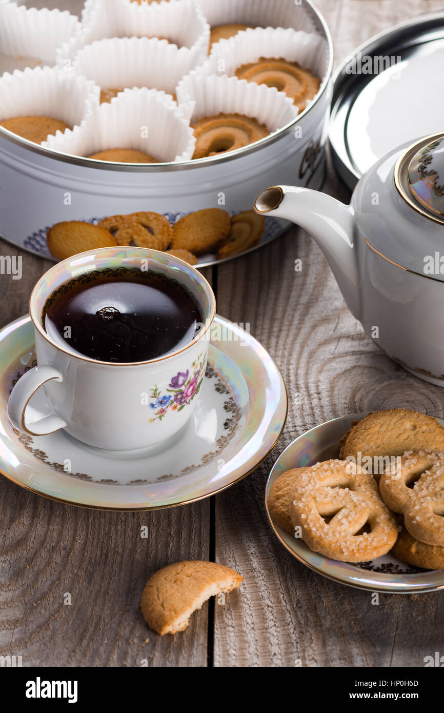 Tea with Danish butter cookies - Stock Image