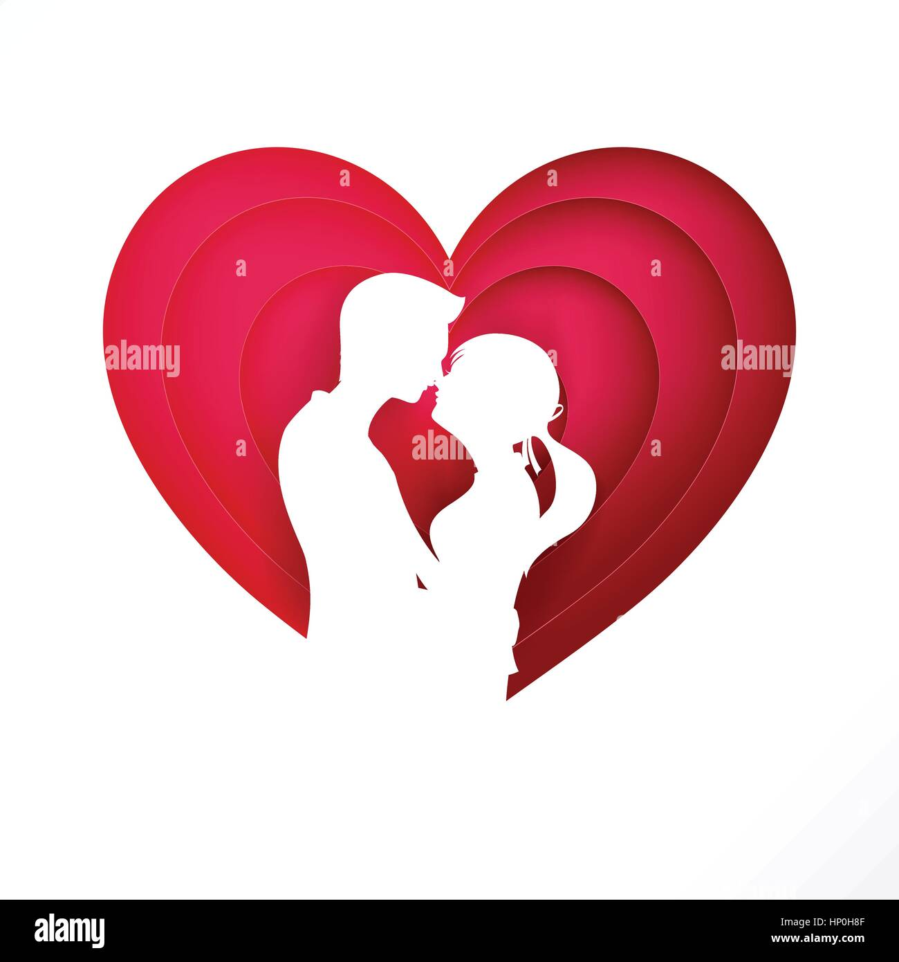 The silhouette couple on pink heart for valentine and wedding card the silhouette couple on pink heart for valentine and wedding card decoration background vector illustration eps 10 junglespirit Choice Image