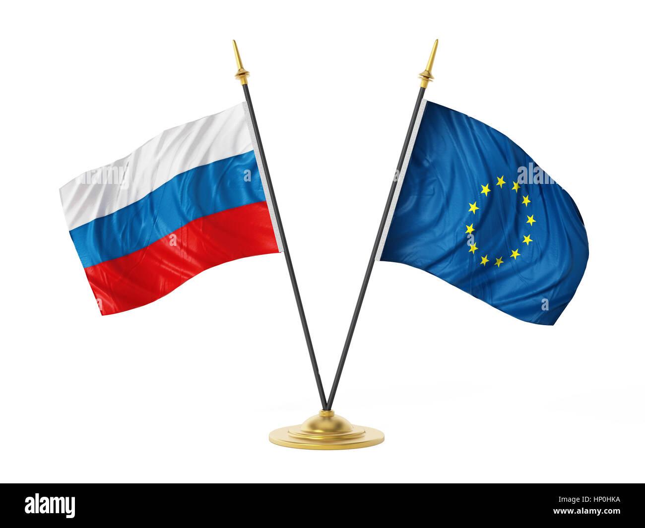Russia and European Union desktop flags. 3D illustration. - Stock Image