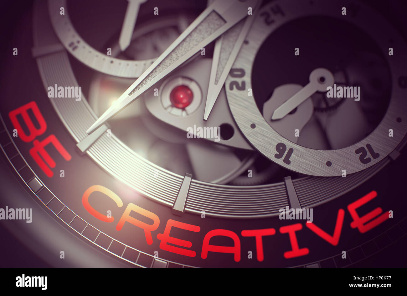 Be Creative on the Automatic Wrist Watch Mechanism. 3D. - Stock Image