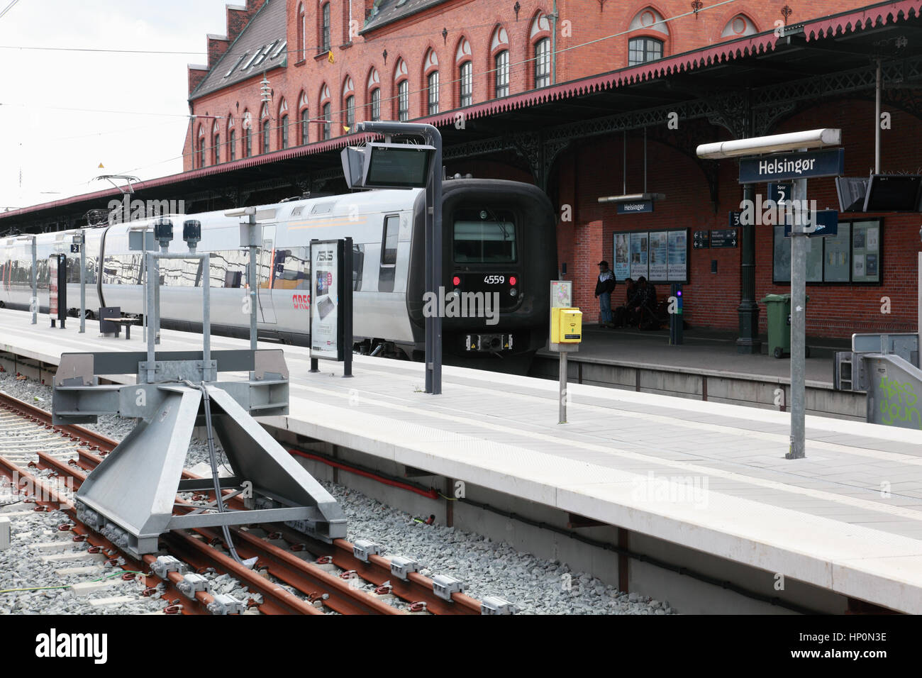 A train standing in the station at Helsingor, Denmark - Stock Image
